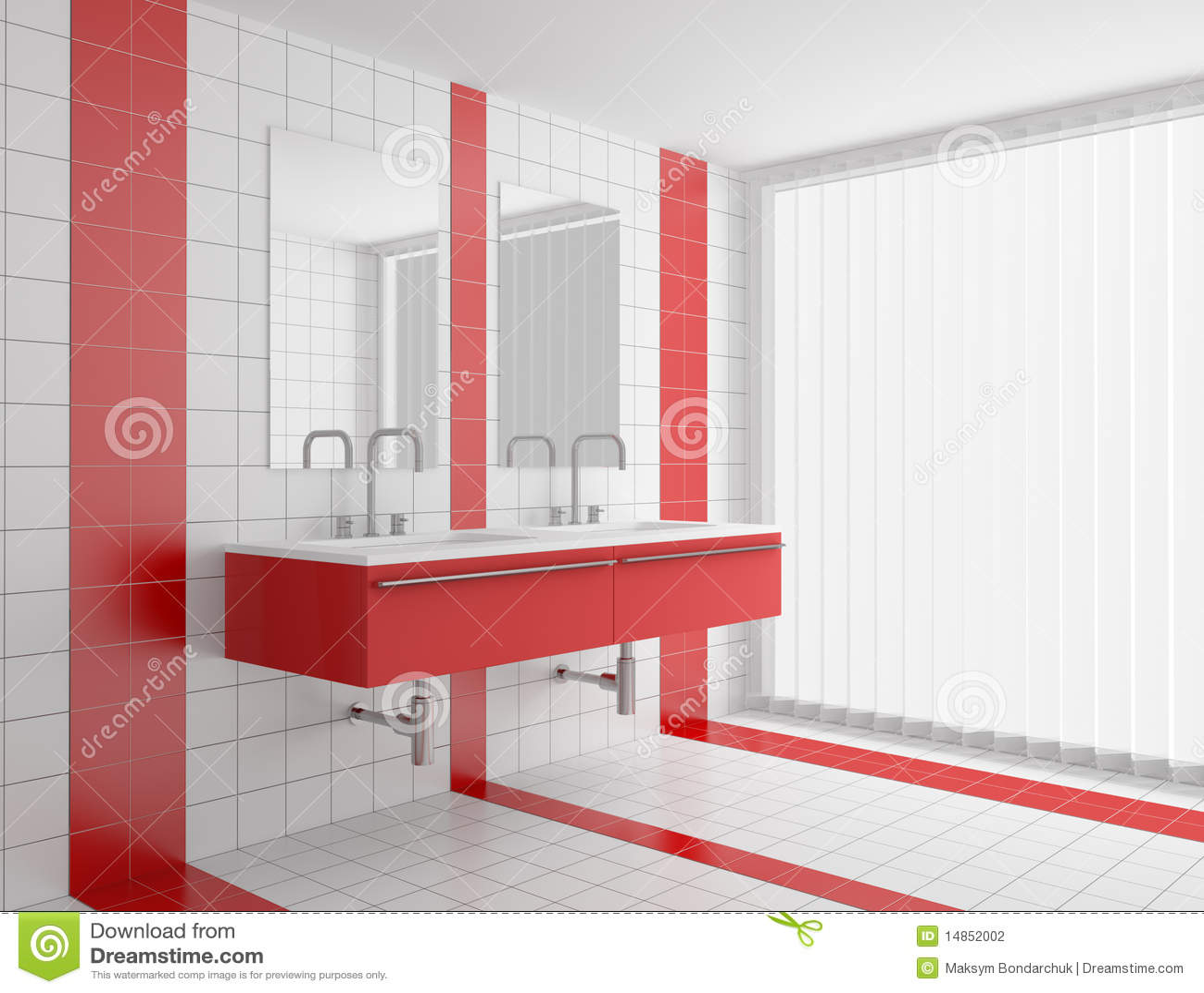 Cuarto de baño moderno con los azulejos rojos y blancos en la pared y