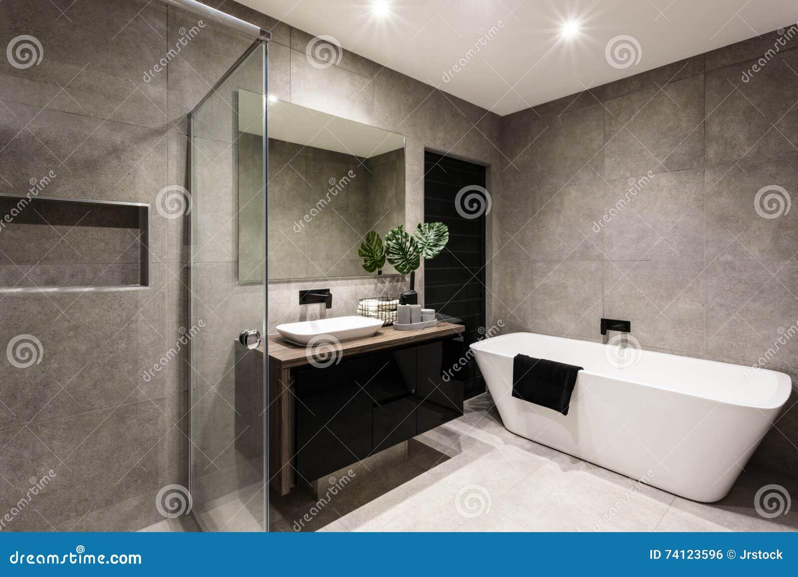 Cuarto de ba o moderno con un rea y una ba era de la for Banos modernos con ducha y banera