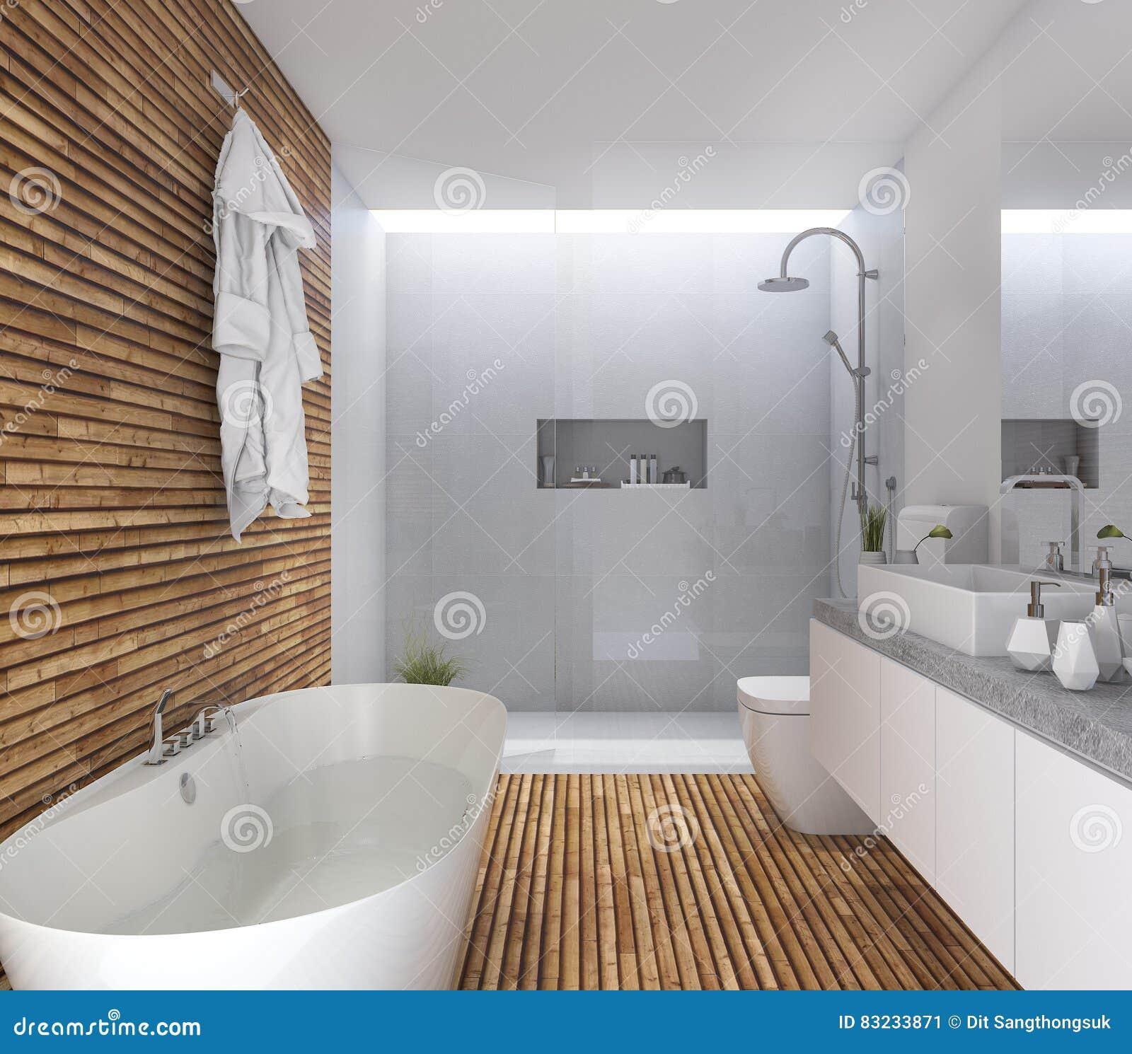 Cuarto De Baño Moderno De Madera De La Representación 3d Con Diseño ...