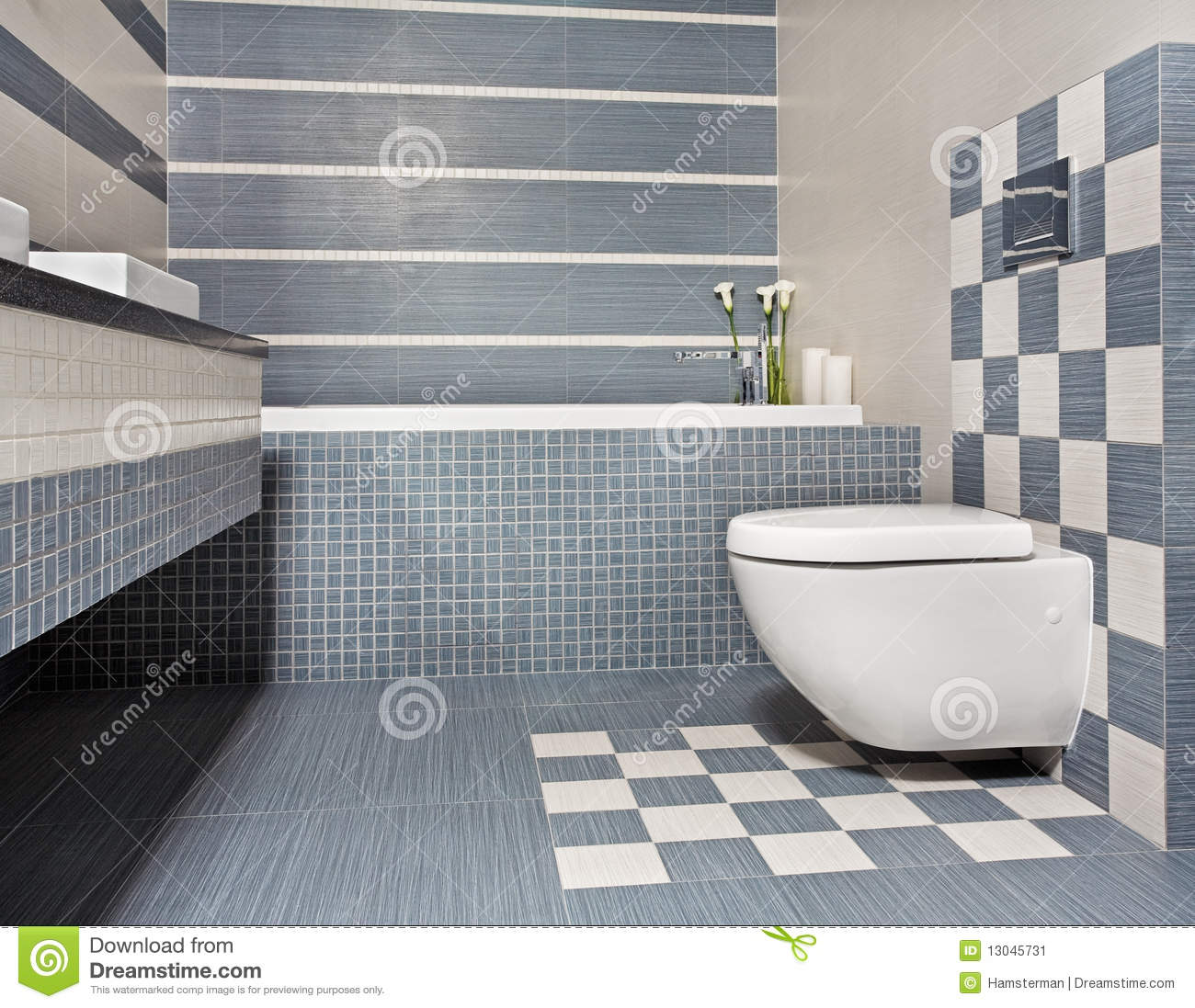 Baños Azules Modernos:Blue and Gray Bathroom