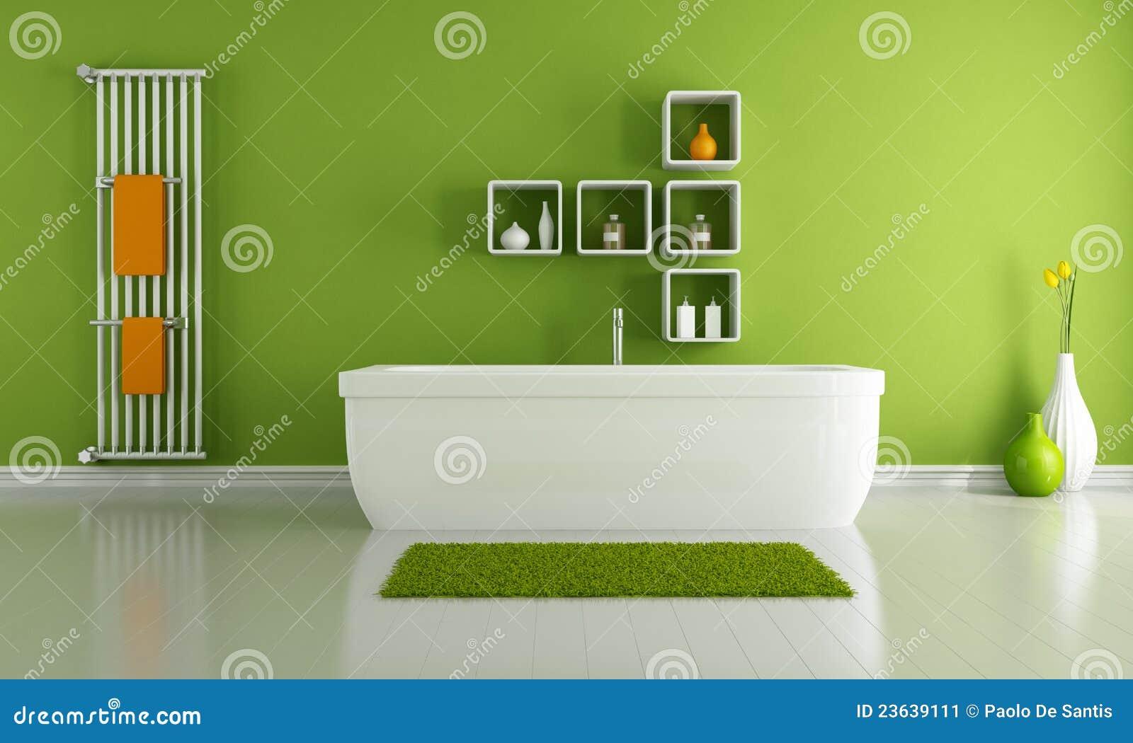 Baños Modernos Verde:Cuarto de baño moderno verde con el cuarto de baño blanco y el