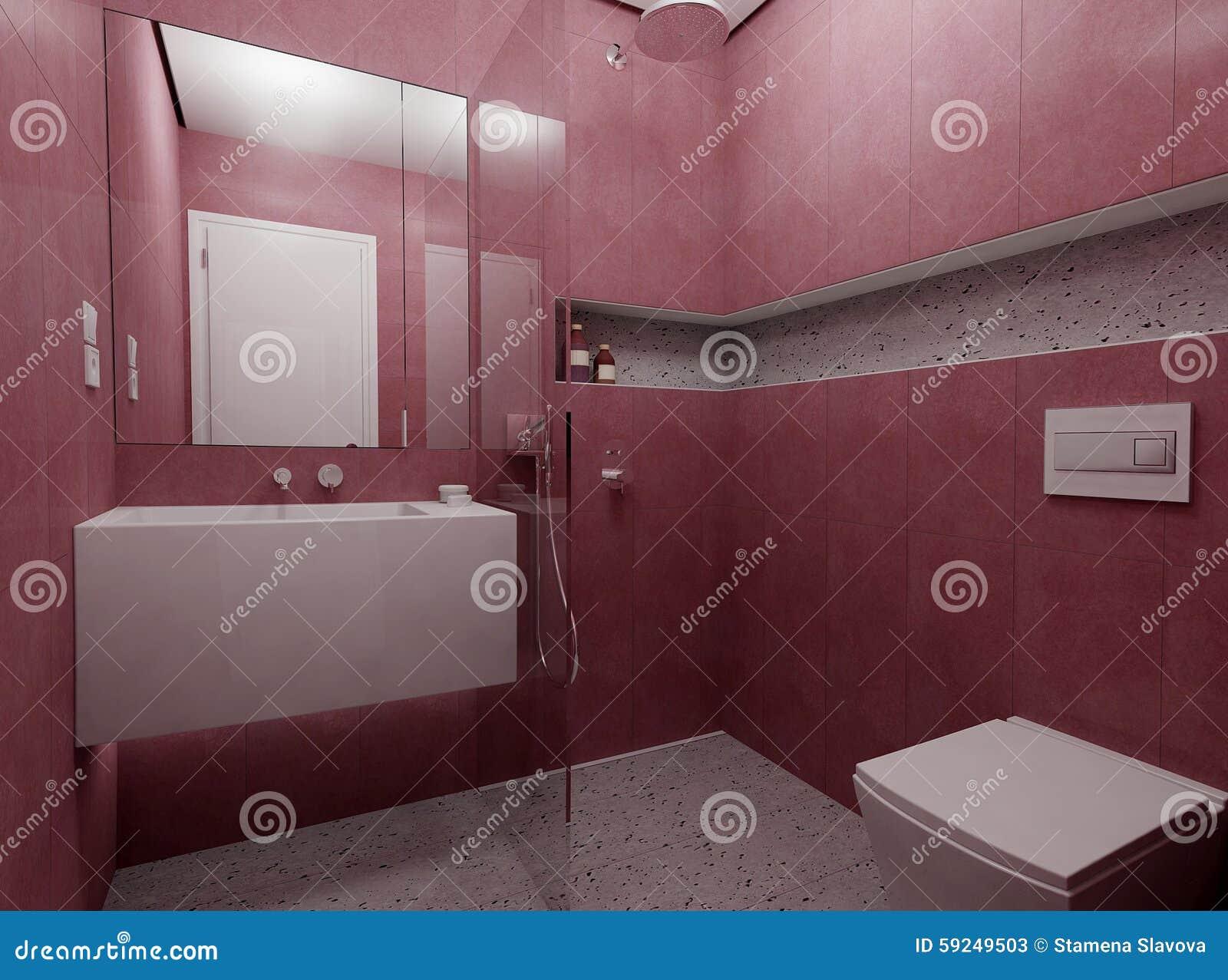 Cuarto de baño rojo moderno