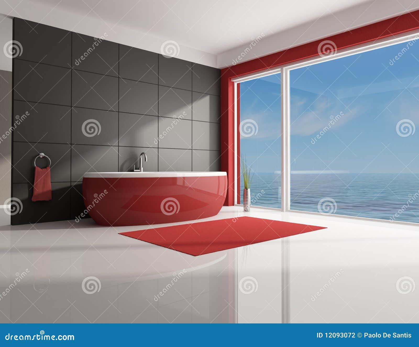 Baño Minimalista Rojo:Red and Brown Bathroom