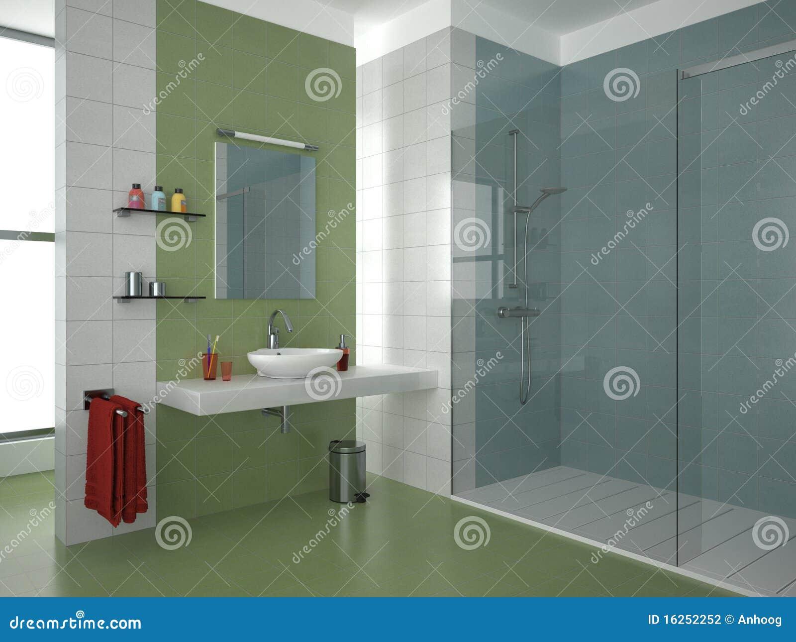 Azulejos Baño Verdes:Cuarto de baño moderno con los azulejos verdes, azules y blancos