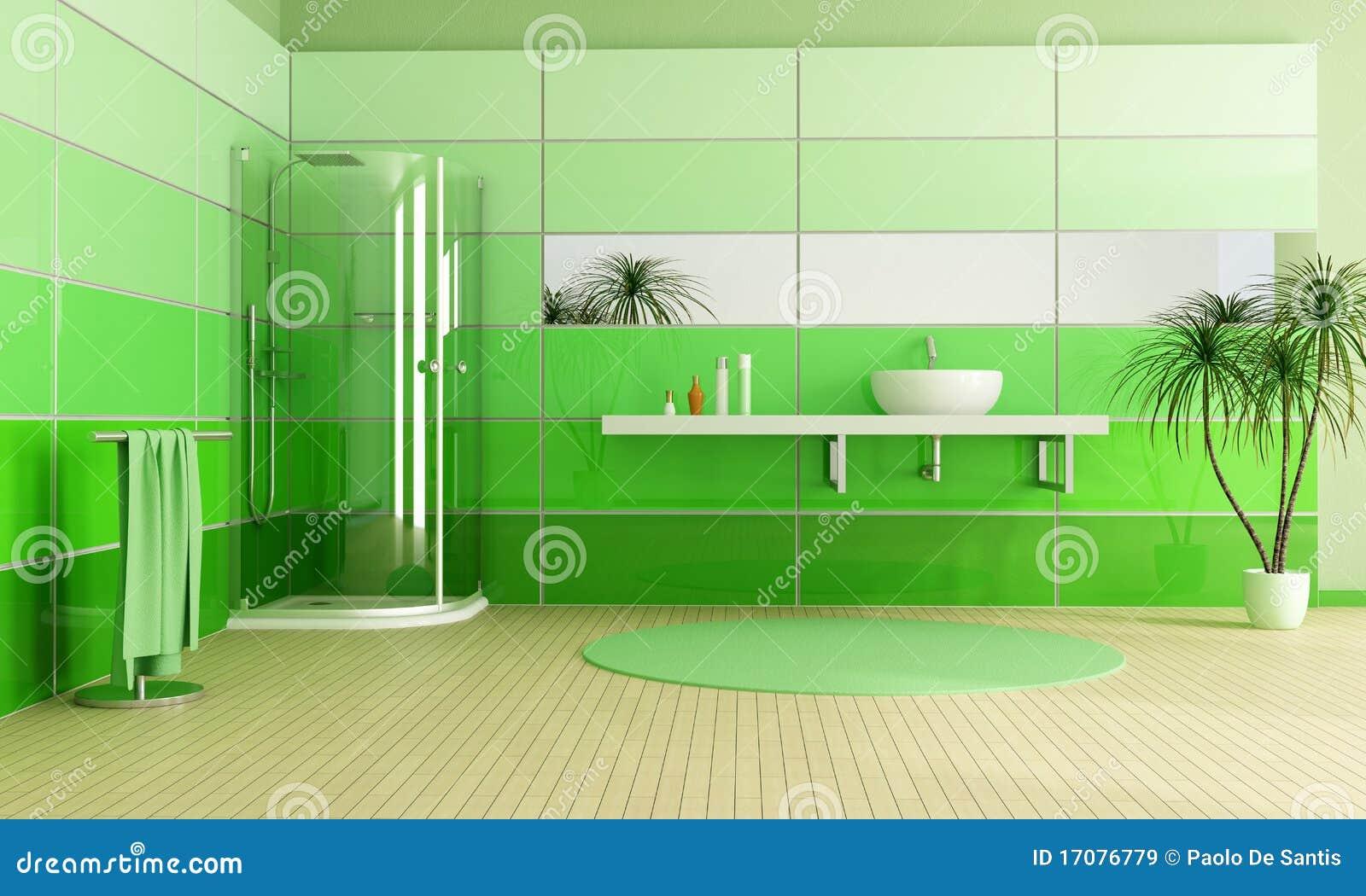 Baños Modernos Verdes:Cuarto de baño moderno con la ducha y el fregadero – representación