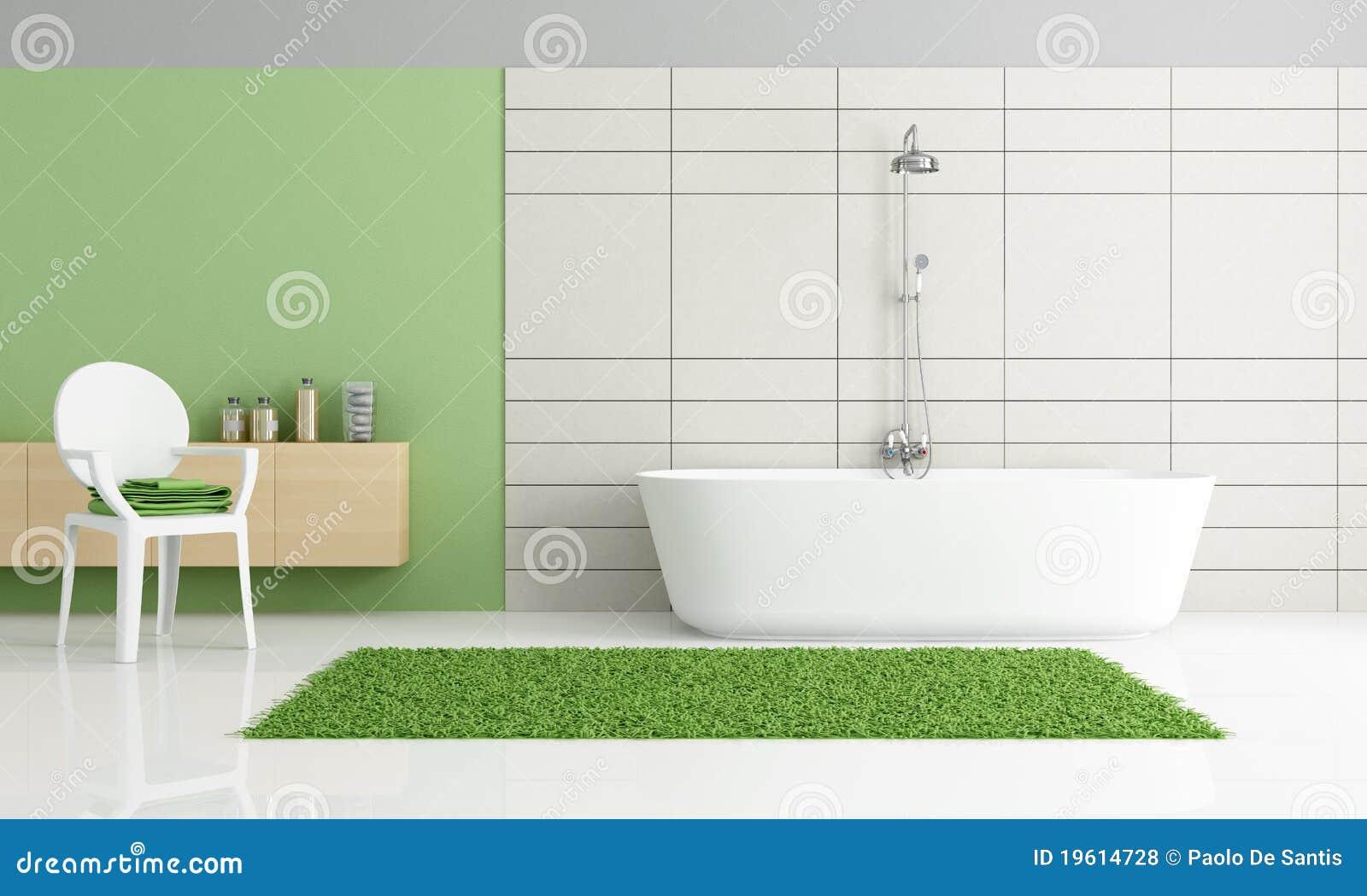 Cuarto De Baño Verde Y Blanco Minimalista Fotos de archivo ...