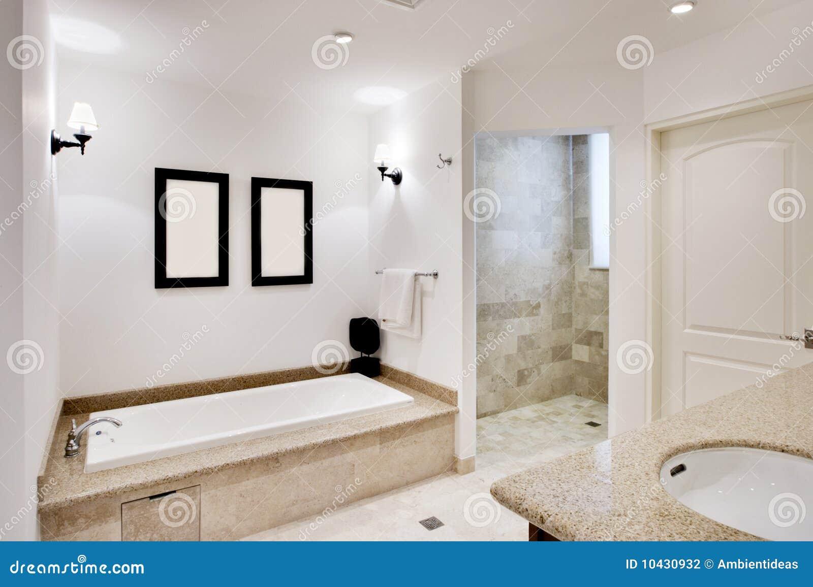 Cuarto de ba o con la tina y la ducha fotograf a de for Banos con tina y ducha