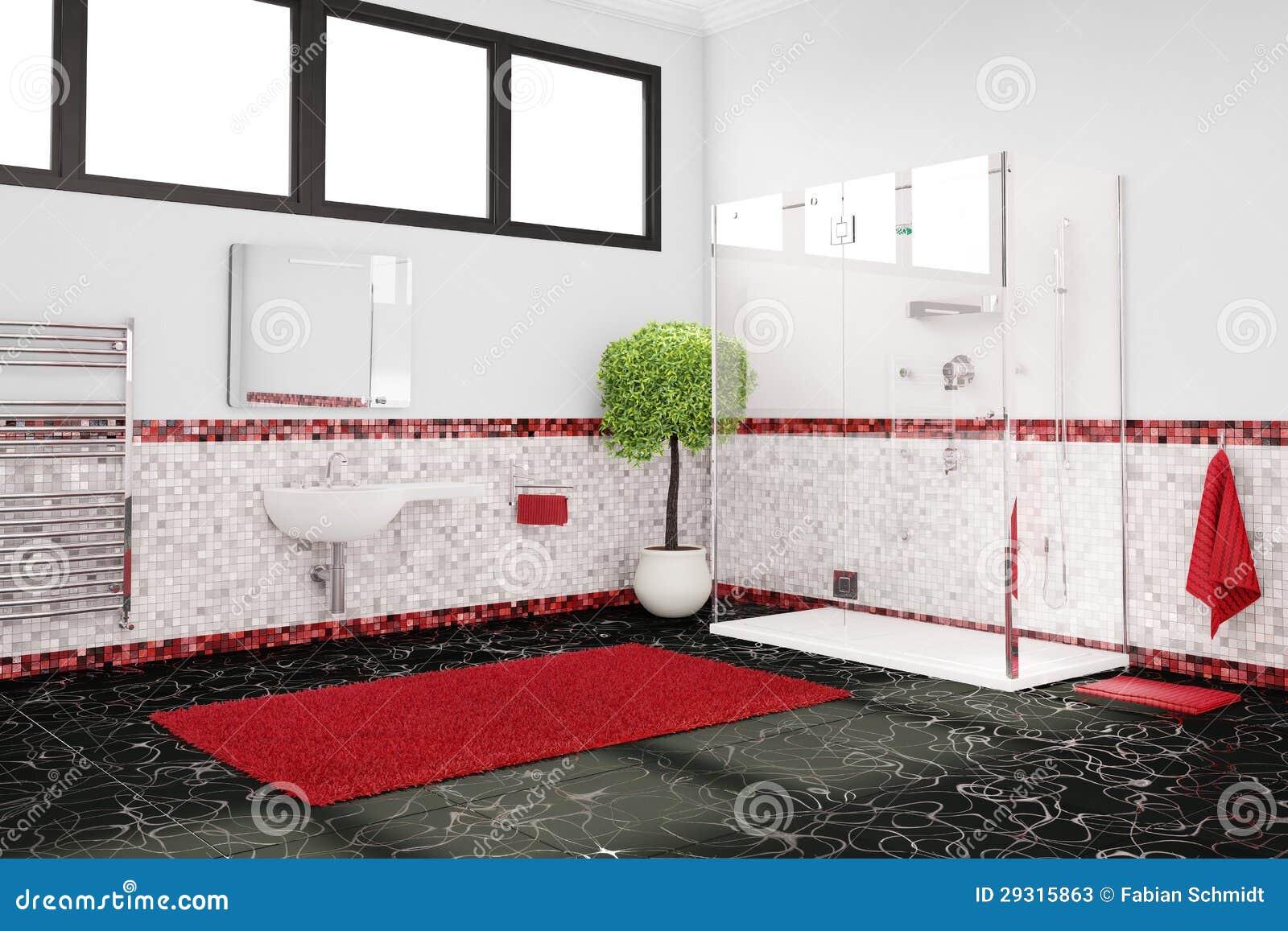 Cuarto de ba o en rojo blanco y negro fotos de archivo for Cuarto negro y rojo