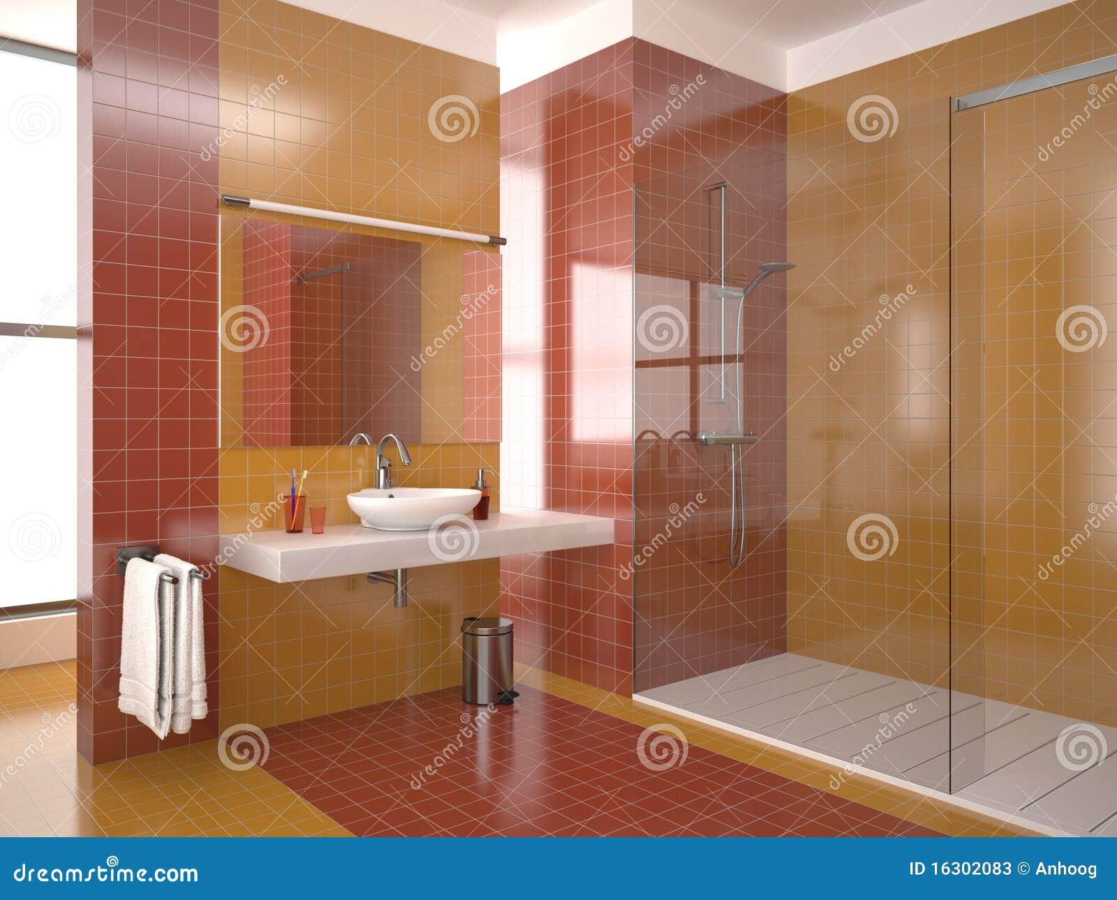 Cuarto De Baño Moderno Con Los Azulejos Rojos Y ...