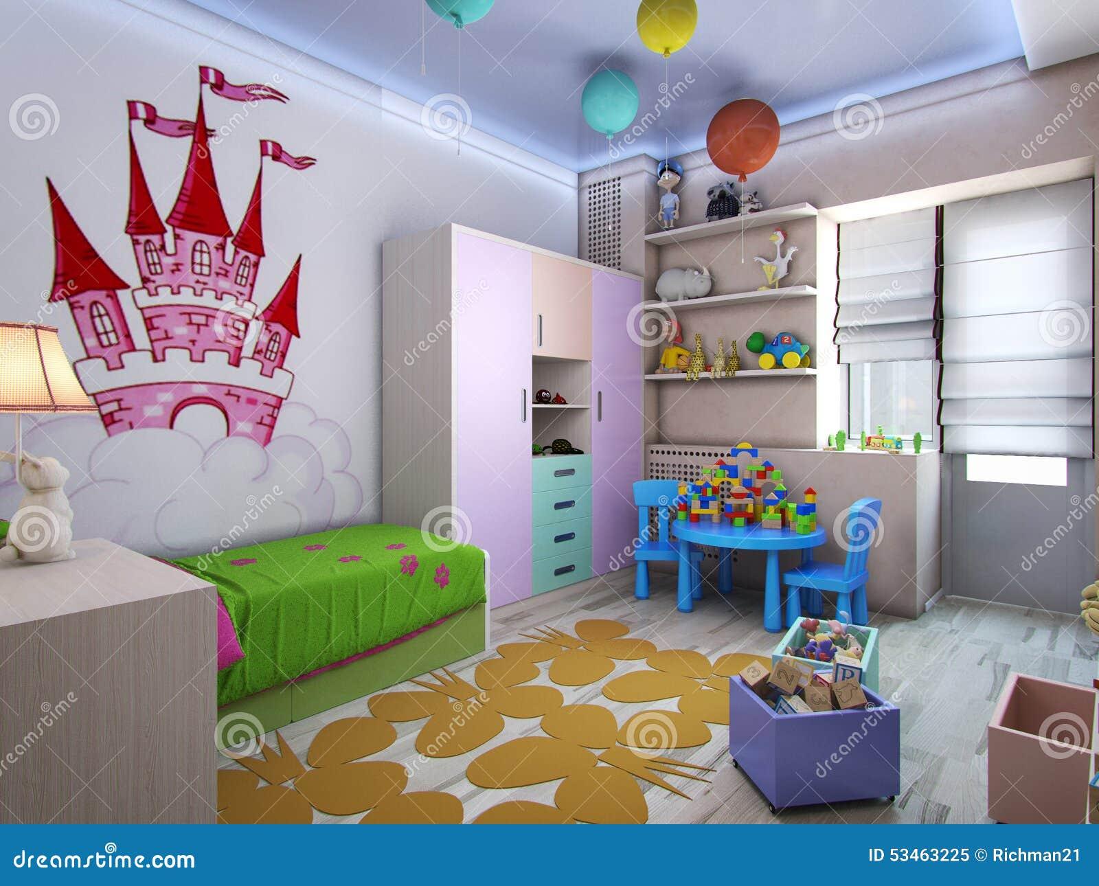 Cuarto de ni os del ejemplo 3d para las muchachas en - Colores habitacion nino ...