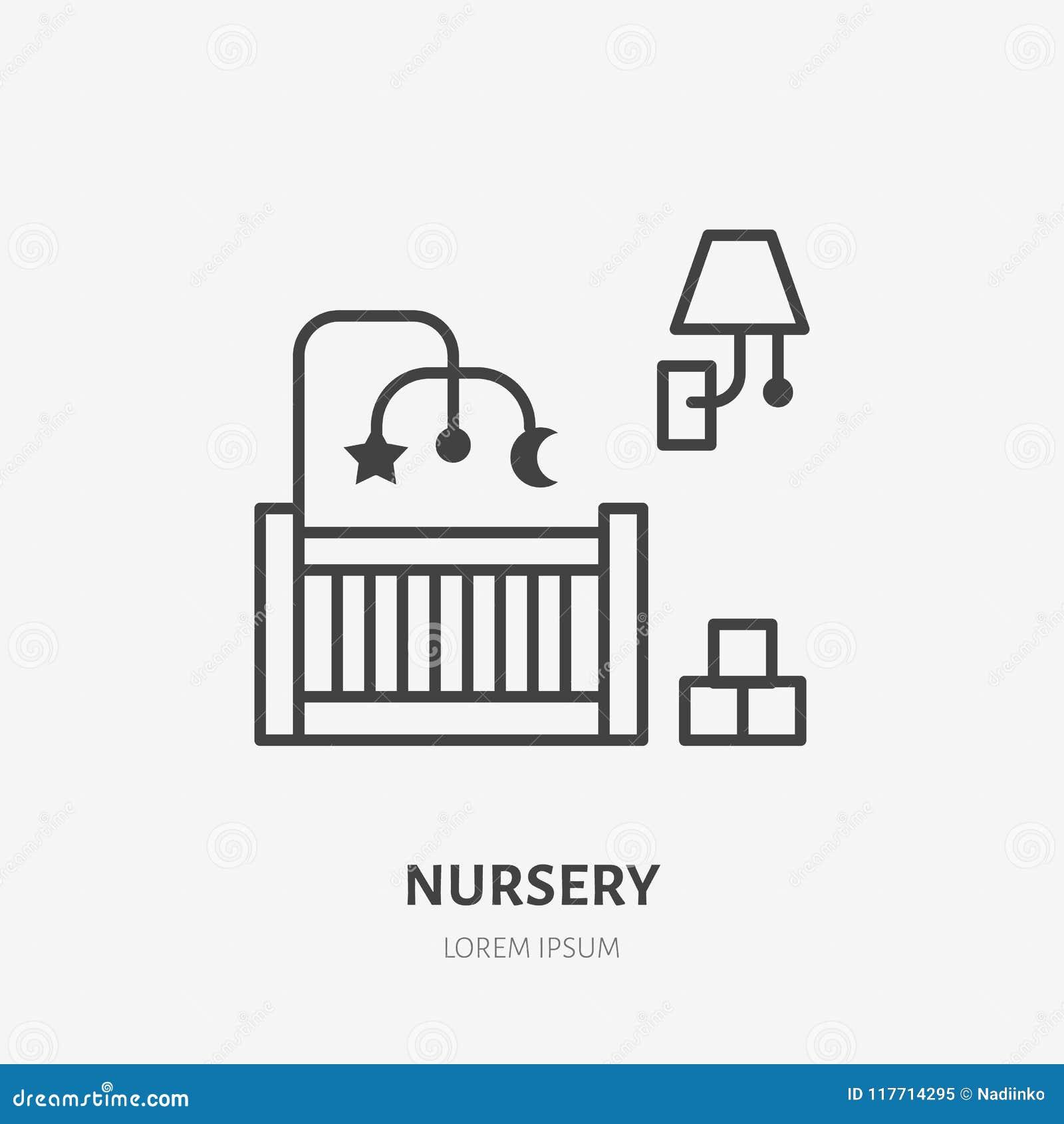 Cuarto De Niños, Línea Plana Icono Del Dormitorio Muestra De Los ...