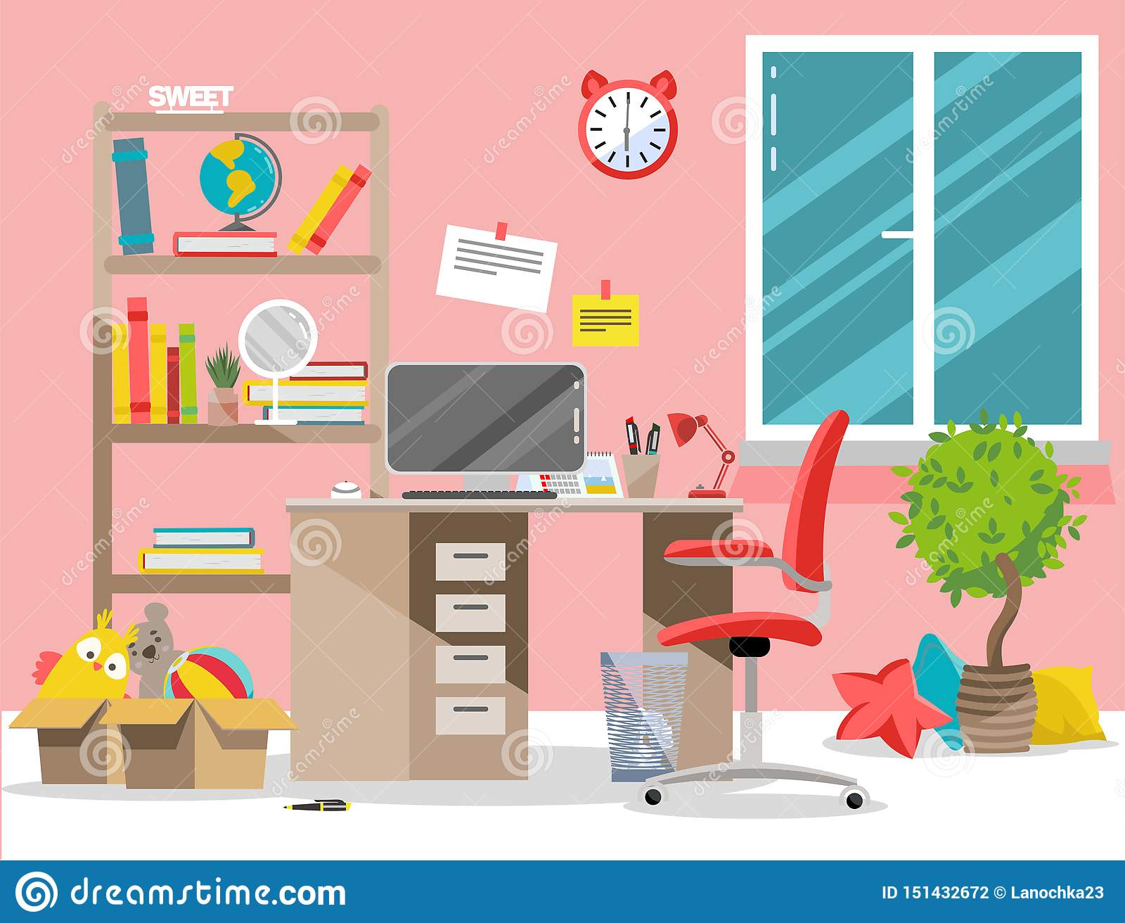Cuarto de ni?os interior El sitio de la muchacha con la tabla, ordenador, estante, juguetes en cajas Ejemplo plano del vector de