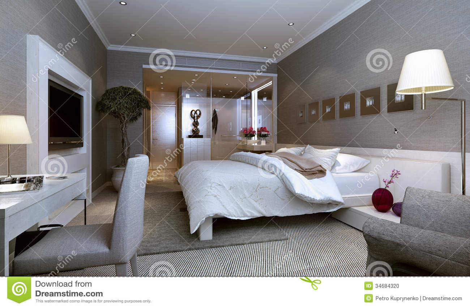Cuartos de invitados interiores modernos foto de archivo for Ideas e interiores