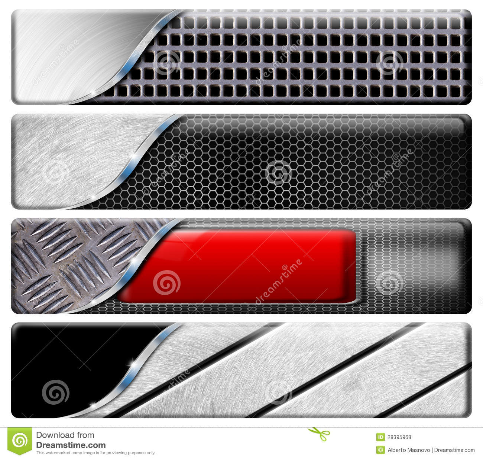 Cuatro cabeceras horizontales del metal