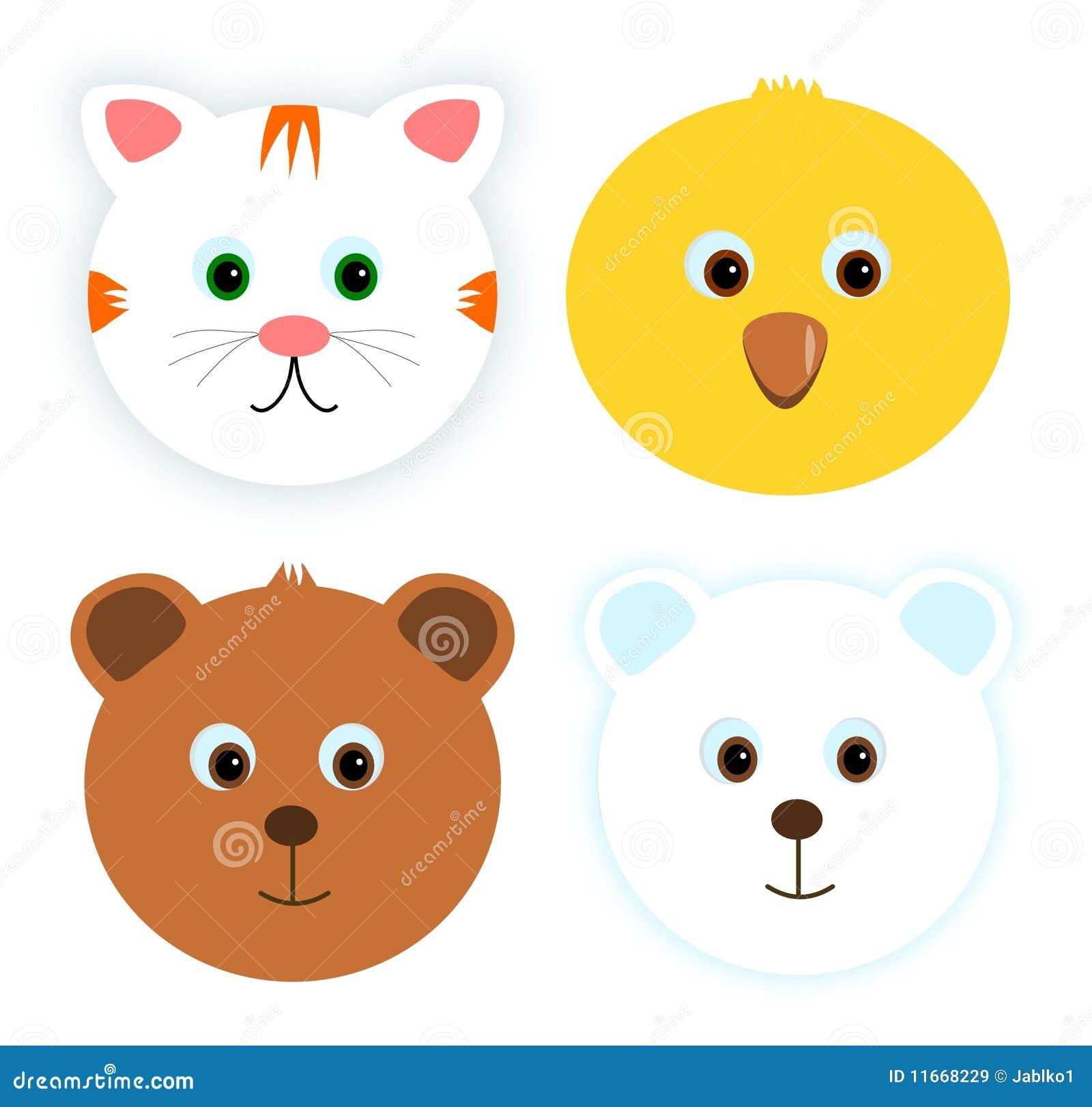 Cuatro caras animales ilustración del vector. Ilustración de ...