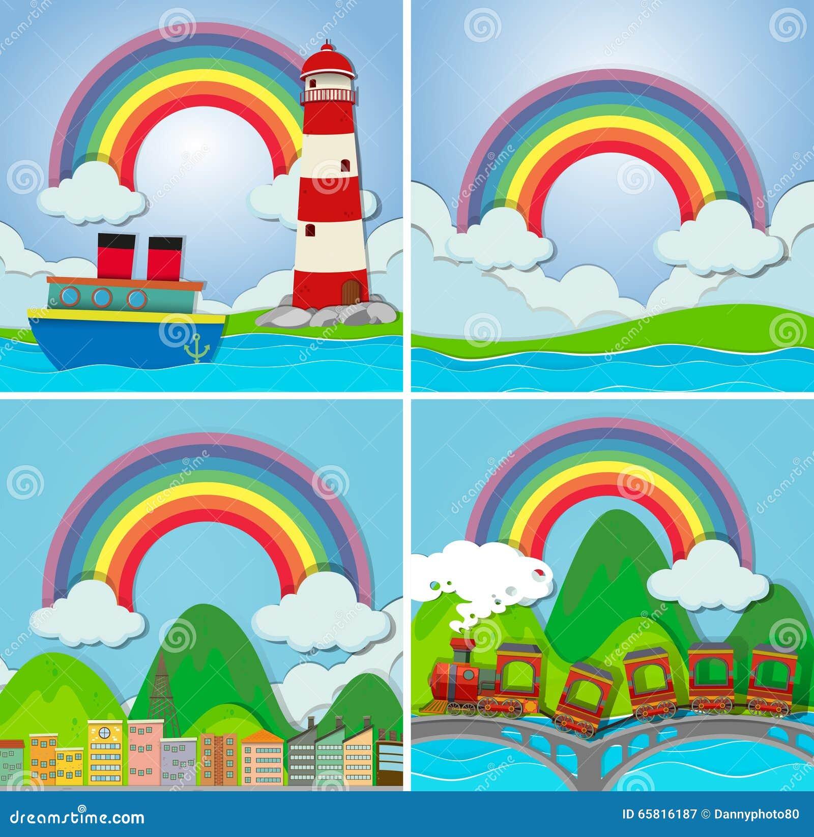 Cuatro escenas con el arco iris