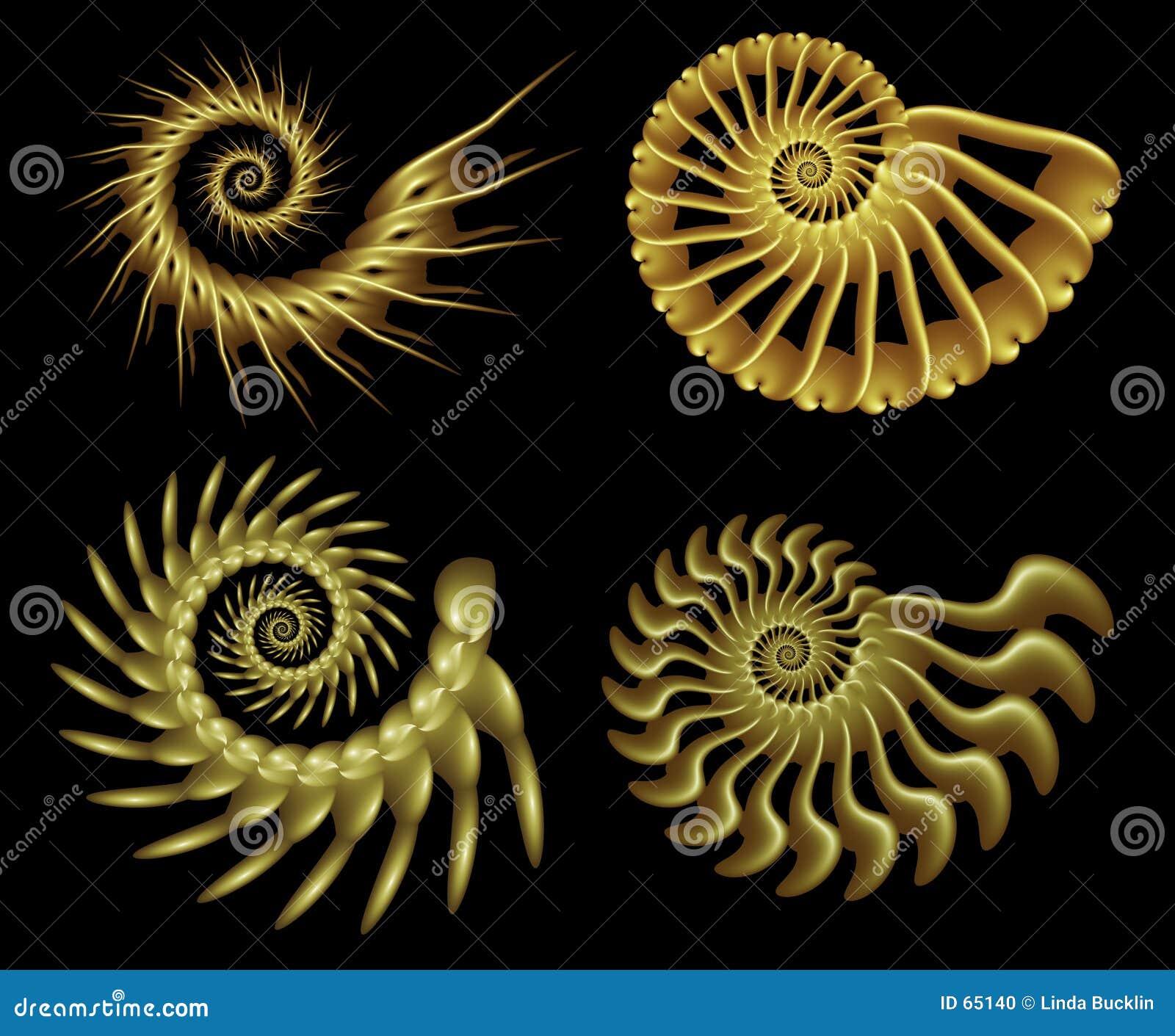 Cuatro espirales 2 del fractal