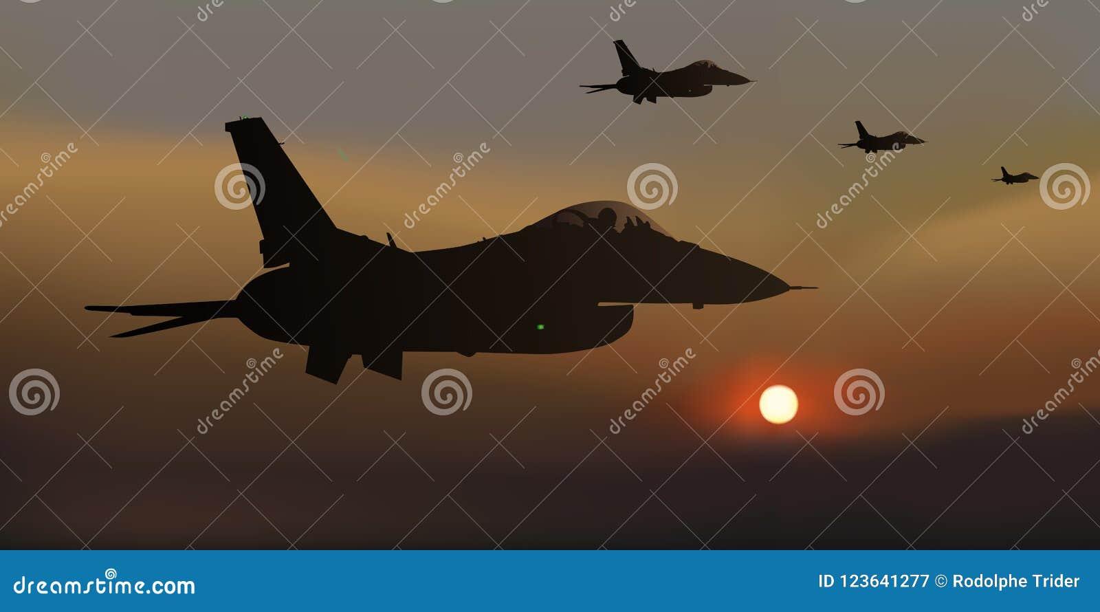Cuatro F-16 combatientes americanos, combate aéreo