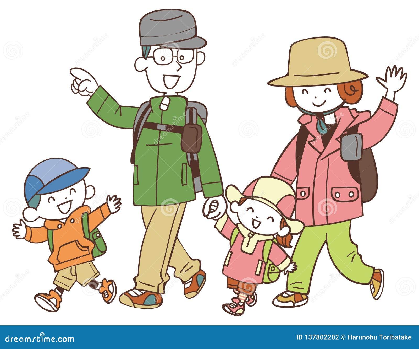 Cuatro familias que caminan