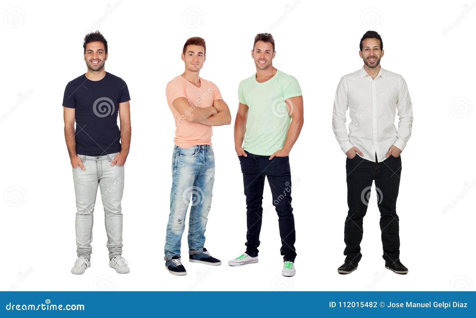 Cuatro hombres llenos hermosos