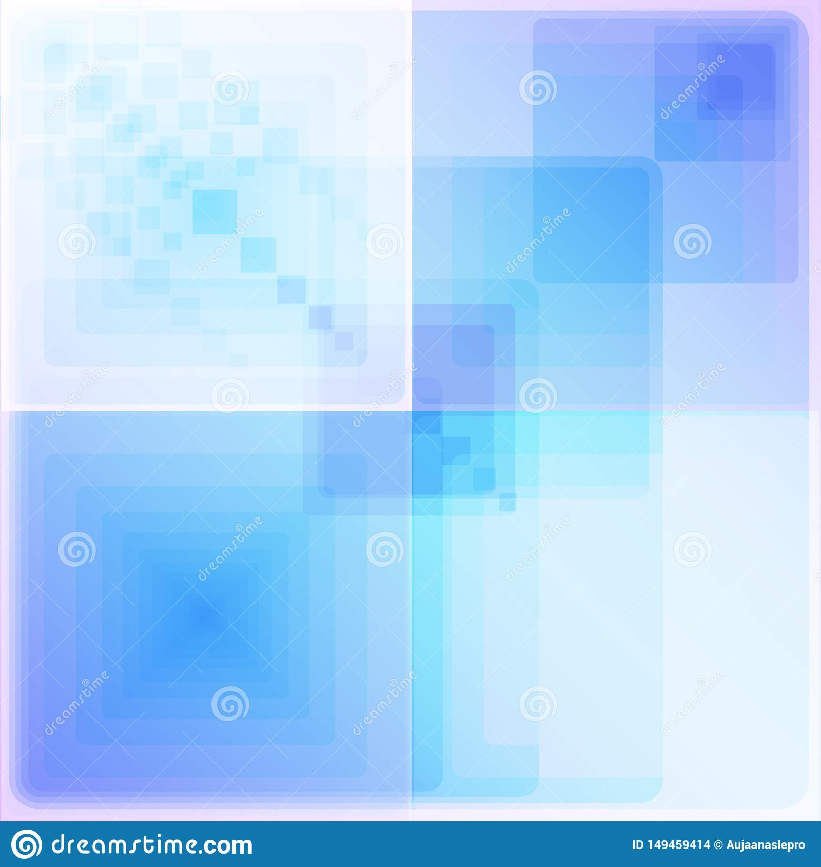 Cuatro modelos geométricos blancos y azules brillantes
