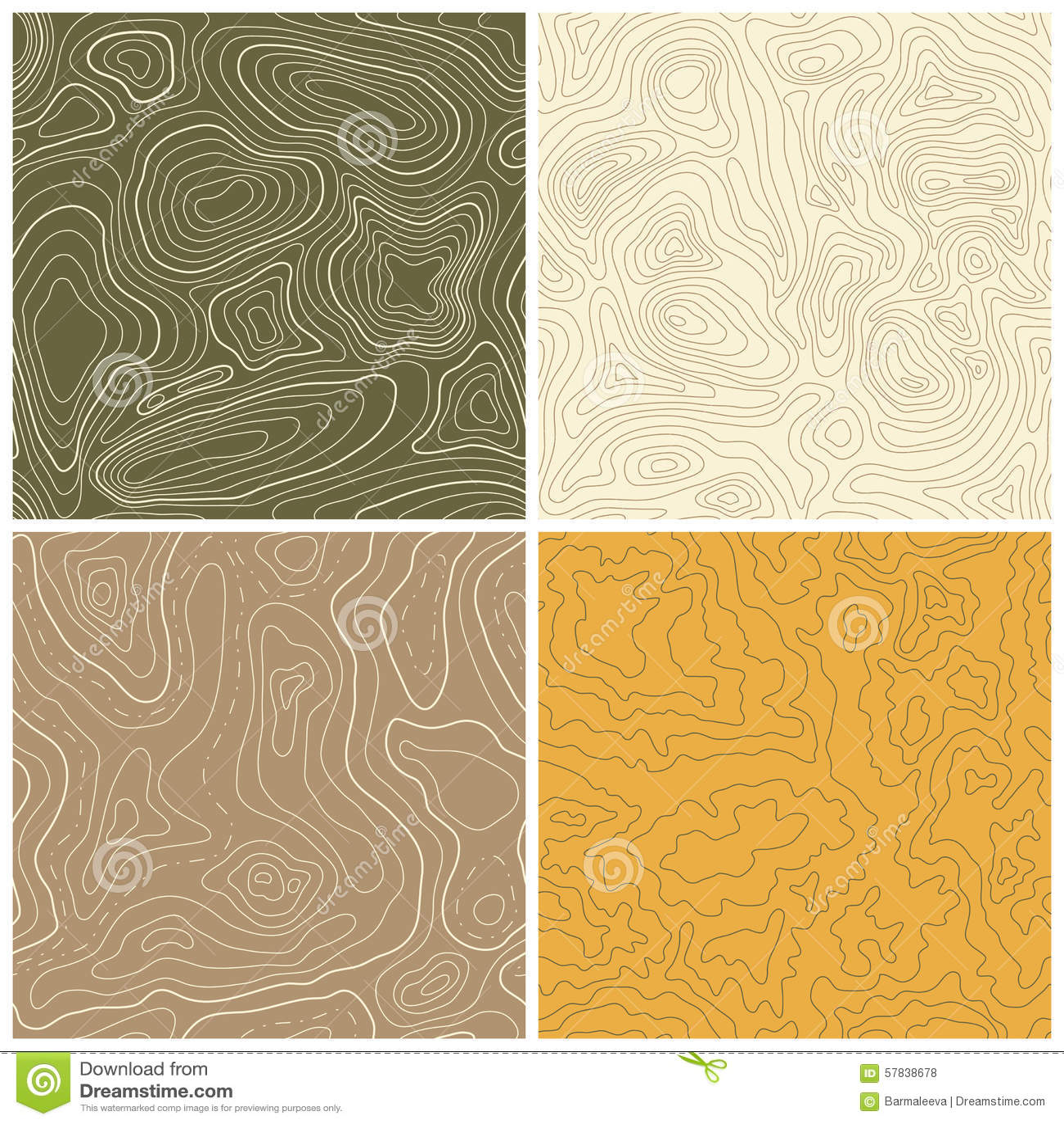 Cuatro modelos inconsútiles del mapa topográfico del vector