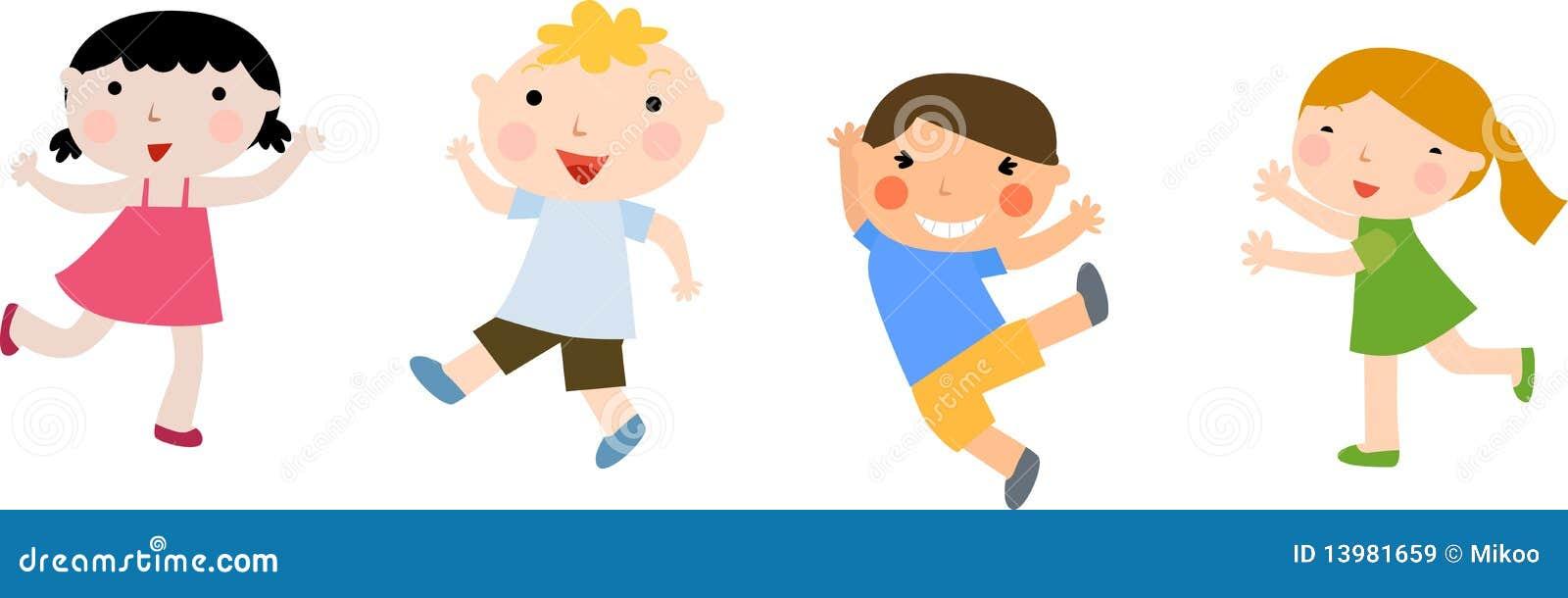 Cuatro niños. Conjunto. ilustración del vector. Ilustración de ... 25816cca6cdb