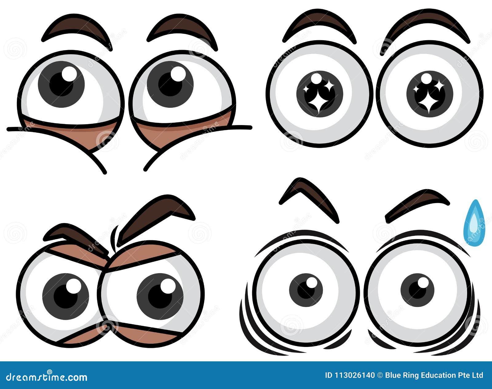 Cuatro ojos fijados con diversas expresiones