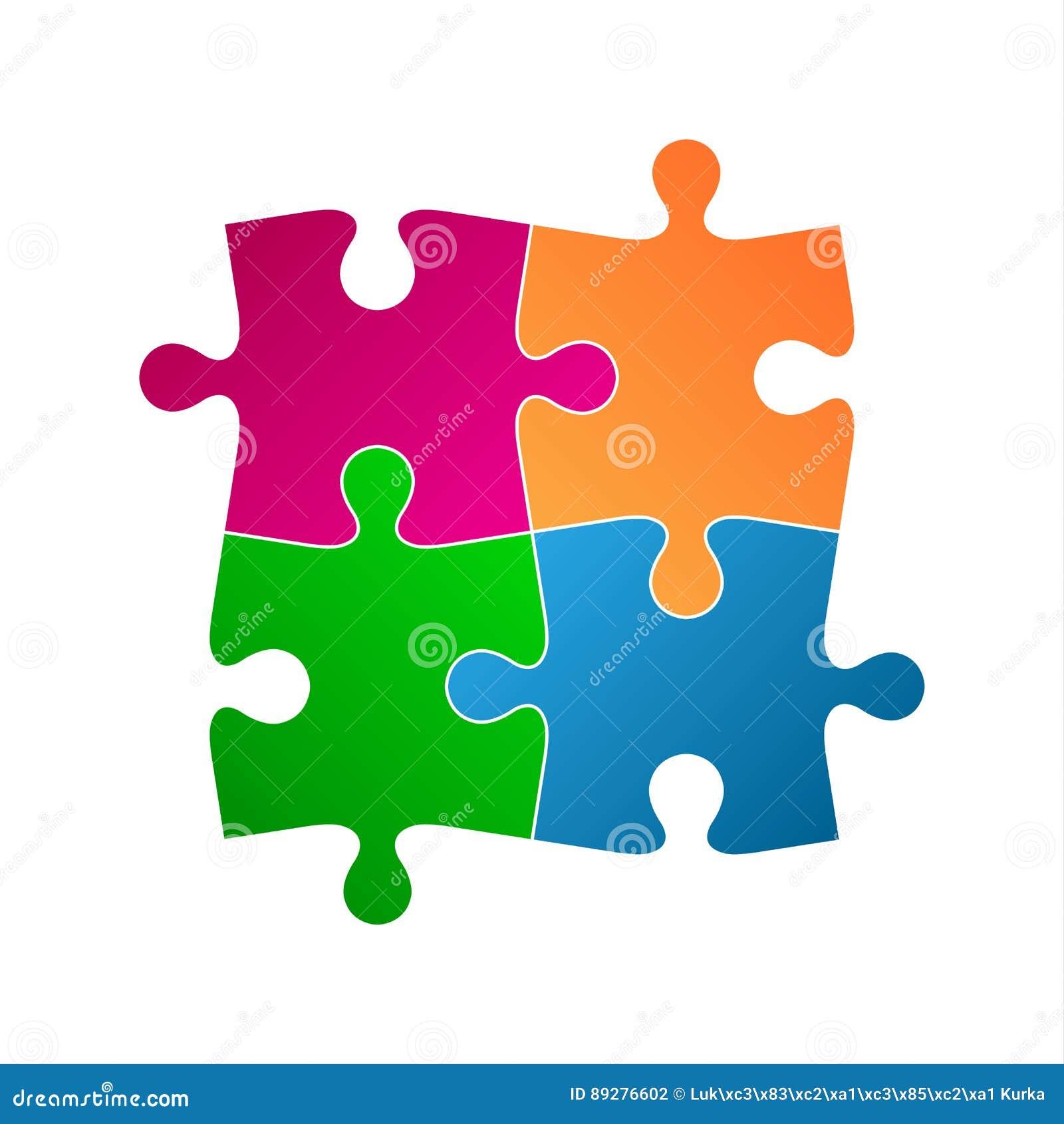 Cuatro pedazos coloreados del rompecabezas, icono del símbolo abstracto