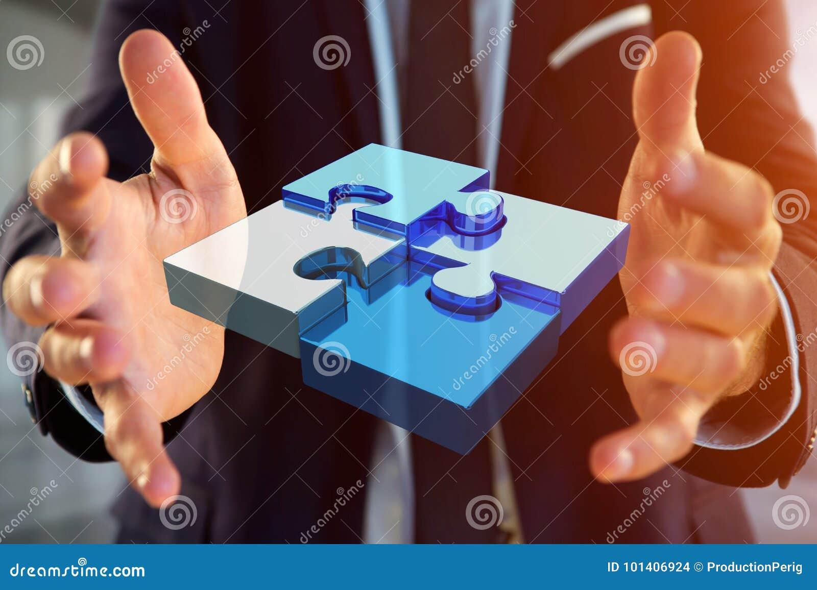 Cuatro pedazos del rompecabezas que hacen un logotipo en un interfaz futurista - 3d