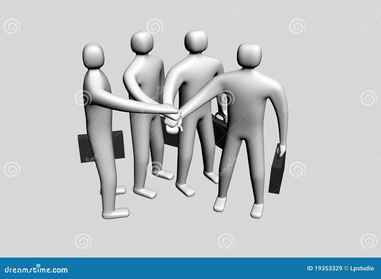 Cuatro personas 3d que ponen sus manos juntas for Hotel para cuatro personas
