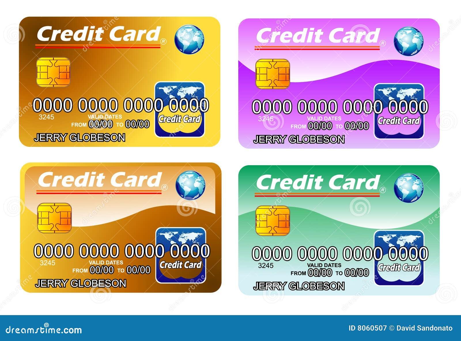 Cuatro tarjetas de crédito con la viruta. completamente editable