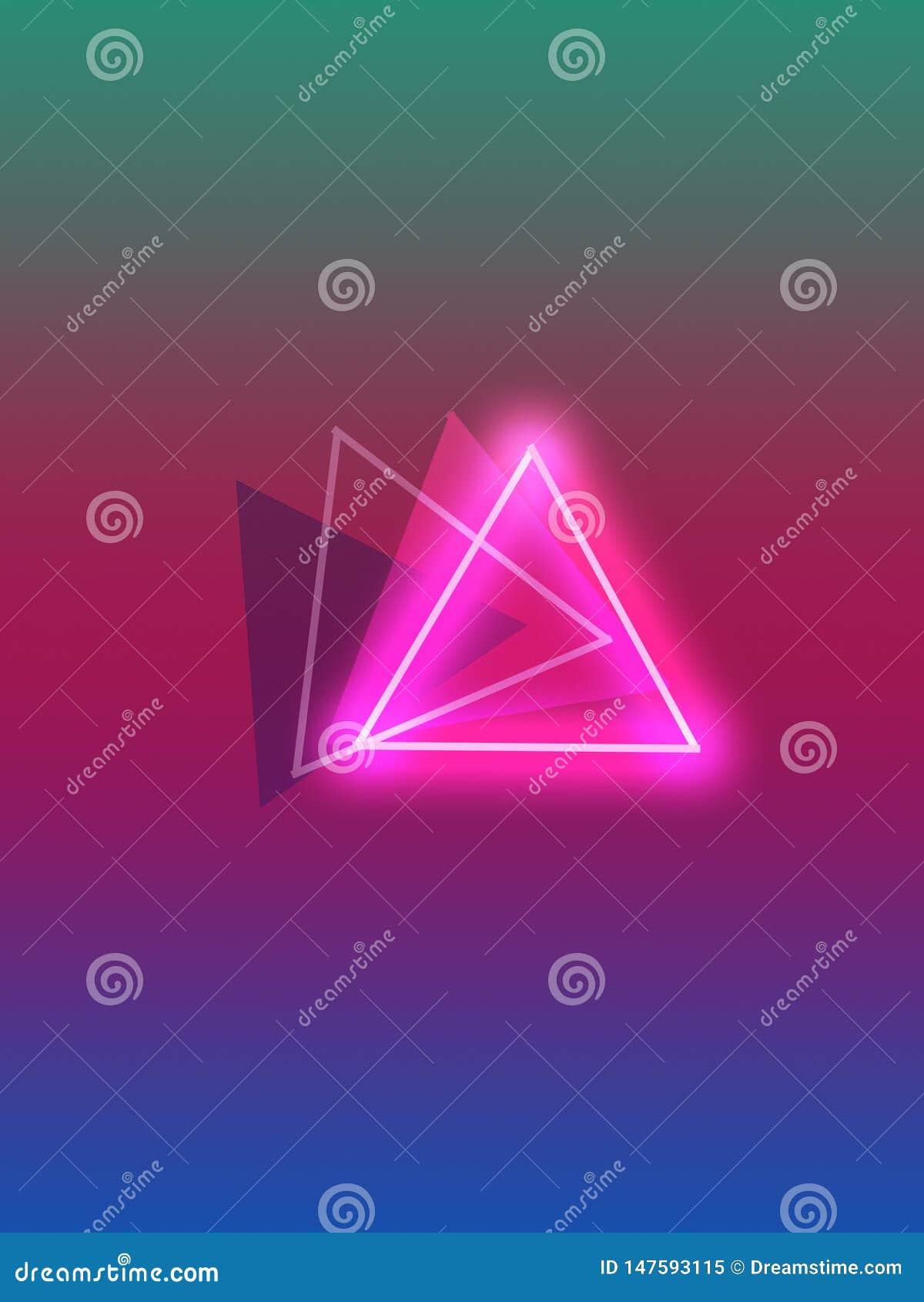 Cuatro triángulos con colores hermosos y neónes agradables