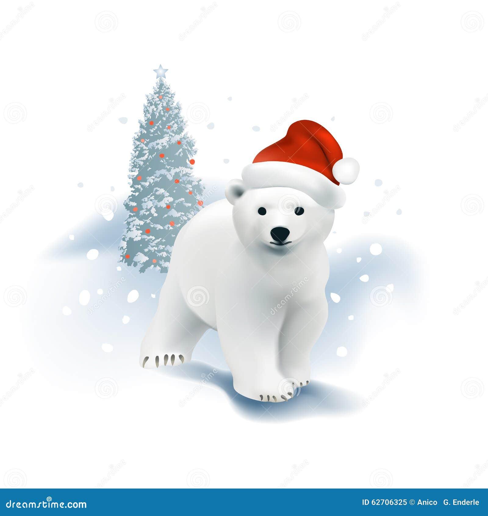 Cub πολικών αρκουδών με το καπέλο Santa και το χριστουγεννιάτικο δέντρο