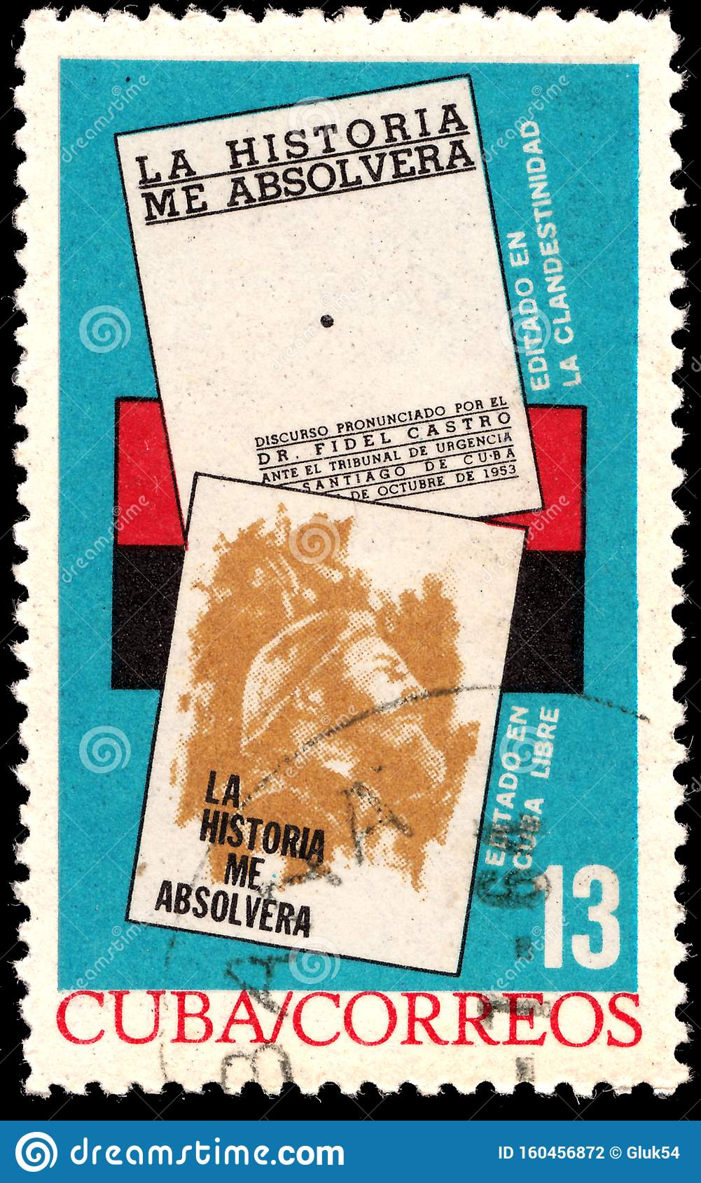 Stamp Printed By Cuba Shows Book By Fidel Castro History
