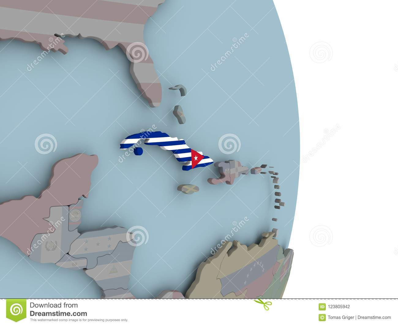 Map Of Cuba On Political Globe With Flag Stock Illustration