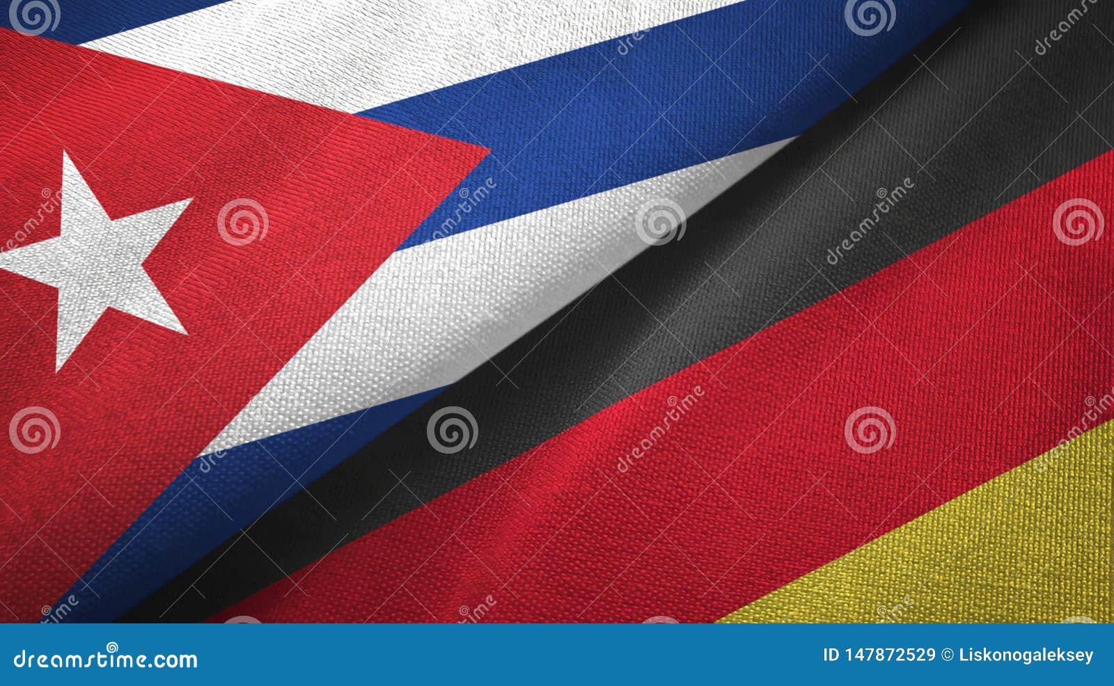 Cuba en Duitsland twee vlaggen textieldoek, stoffentextuur