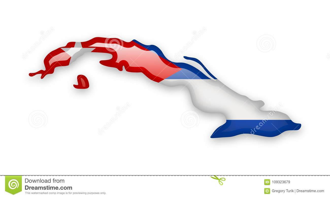 Cuba Flag And Contour Of The Country Stock Vector Illustration Of