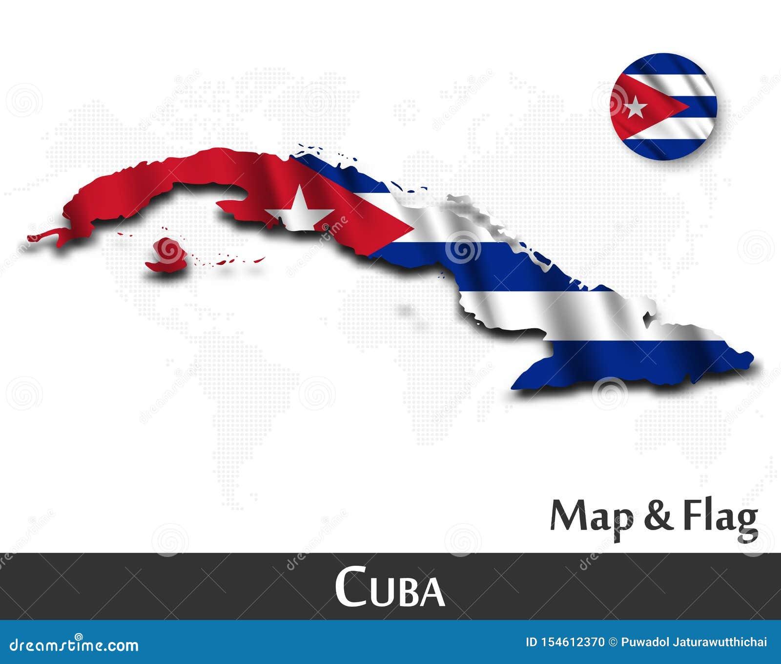 Cuba flagga?versikt Vinkande textildesign Prickv?rldskartabakgrund vektor