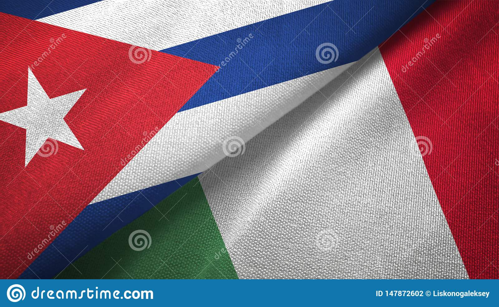Cuba and Italy two flags textile cloth, fabric texture