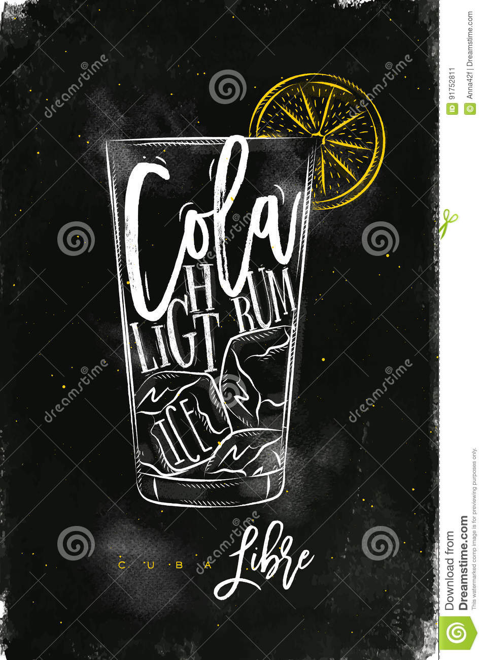 Cuba Libre Cocktail Chalk Color Stock Vector - Illustration of drink ...