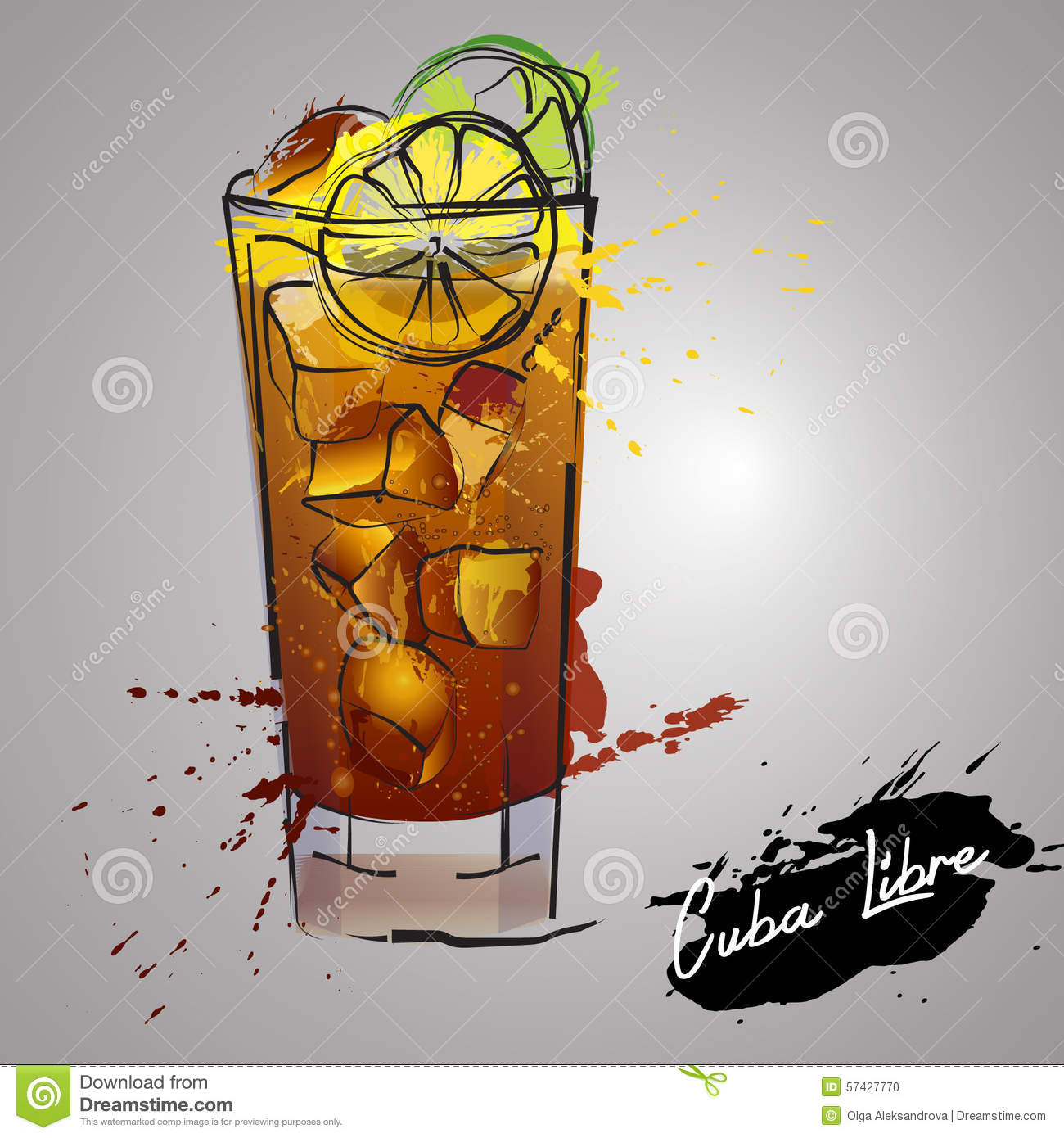 Cuba Libre Cocktail With Color Splash Stock Illustration ...