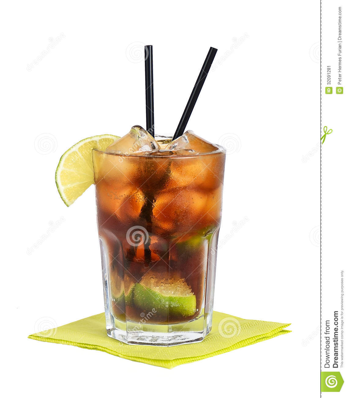 Cuba libre cocktail stock image image of green free for Mixed drinks with white rum