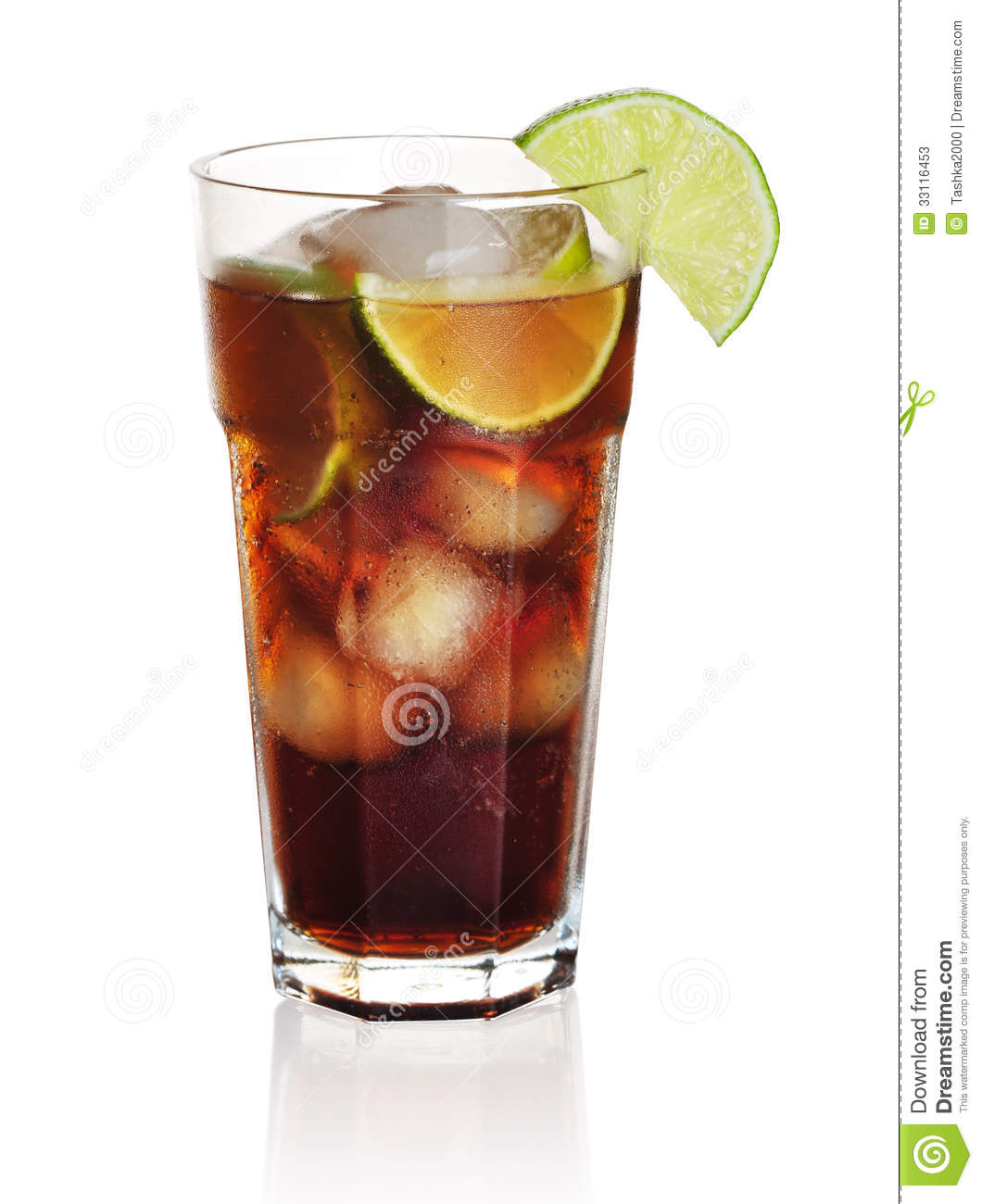 Cuba libre cocktail isolation on a white background.