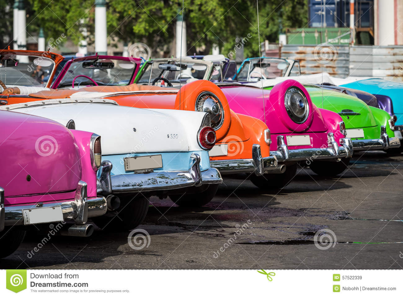 Cuba Many American Colourful Classic Cars Parked In The