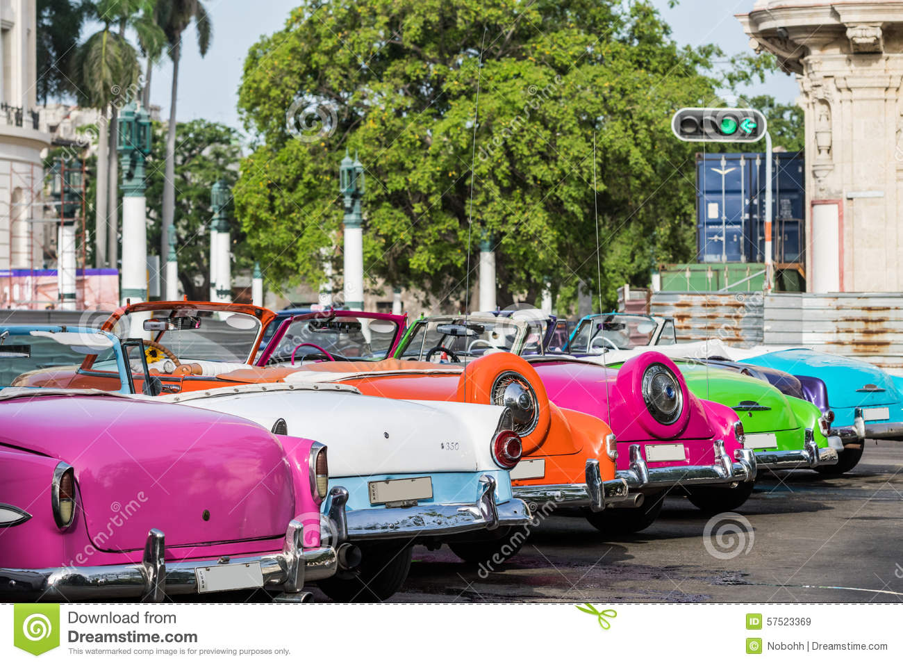 Cuba Many American Colourful Vintage Cars Parked In The ...
