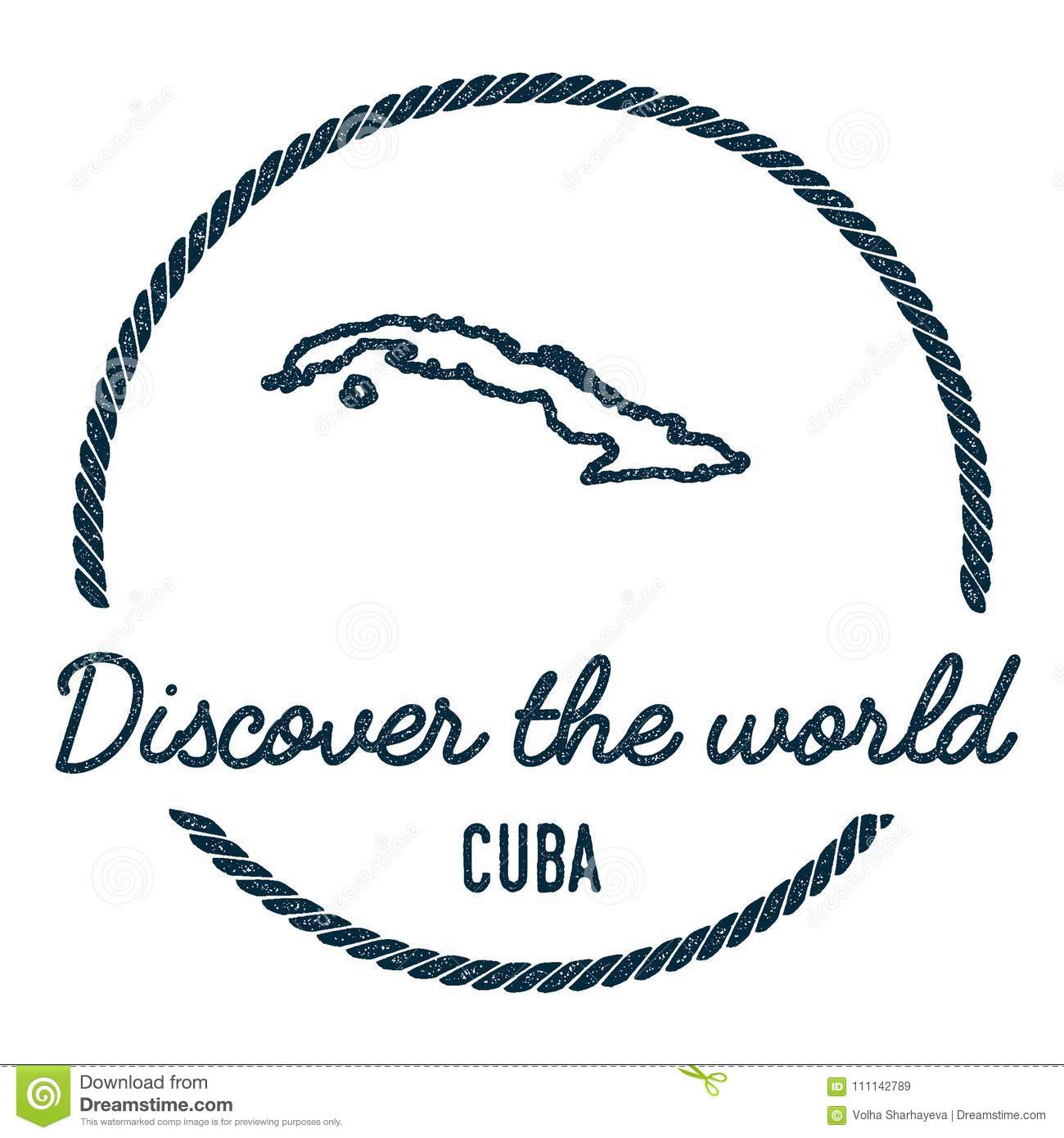 Cuba Map Outline. Vintage Discover The World. Stock Vector ...