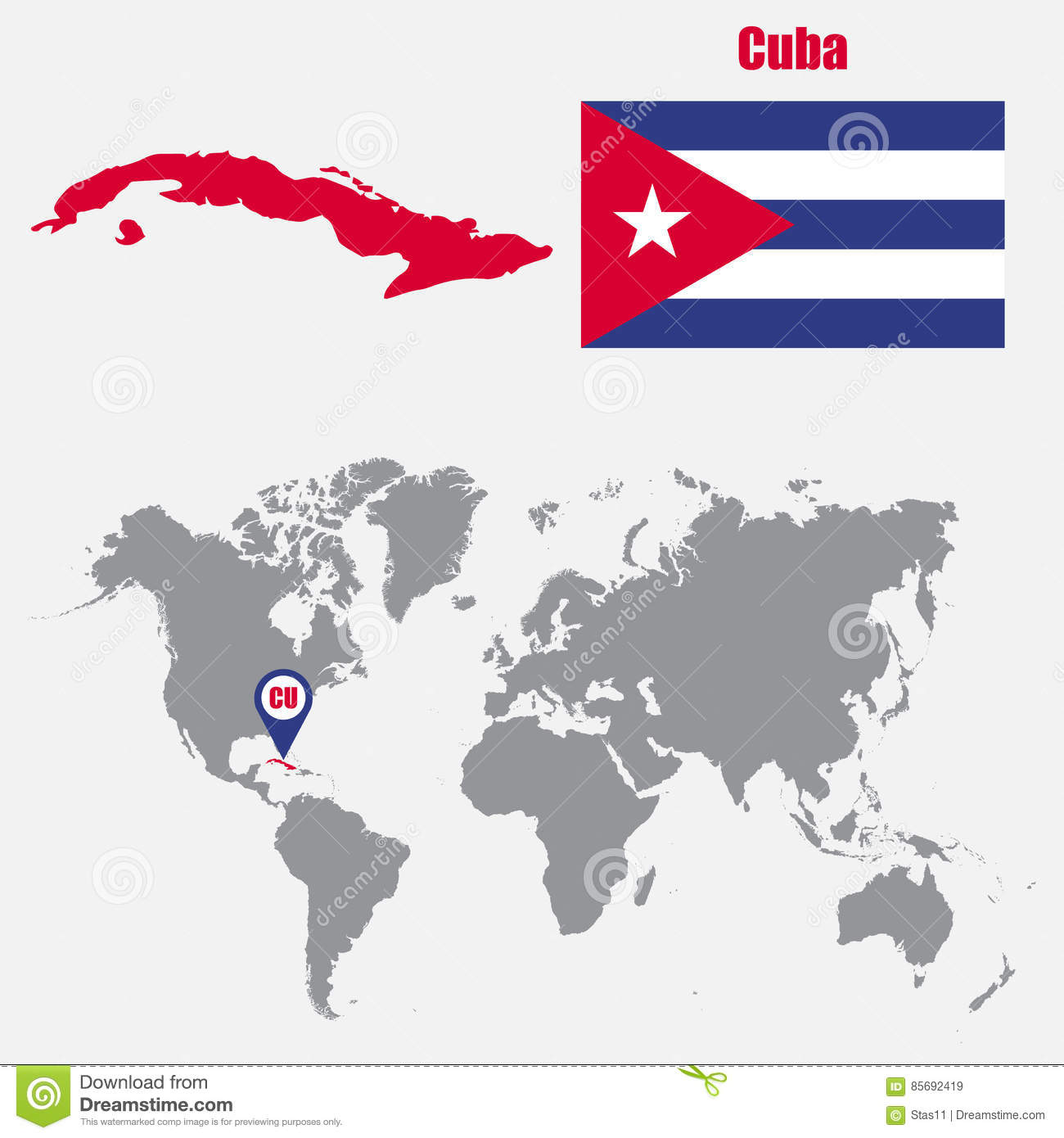 Cuba Map On A World Map With Flag And Map Pointer. Vector ...