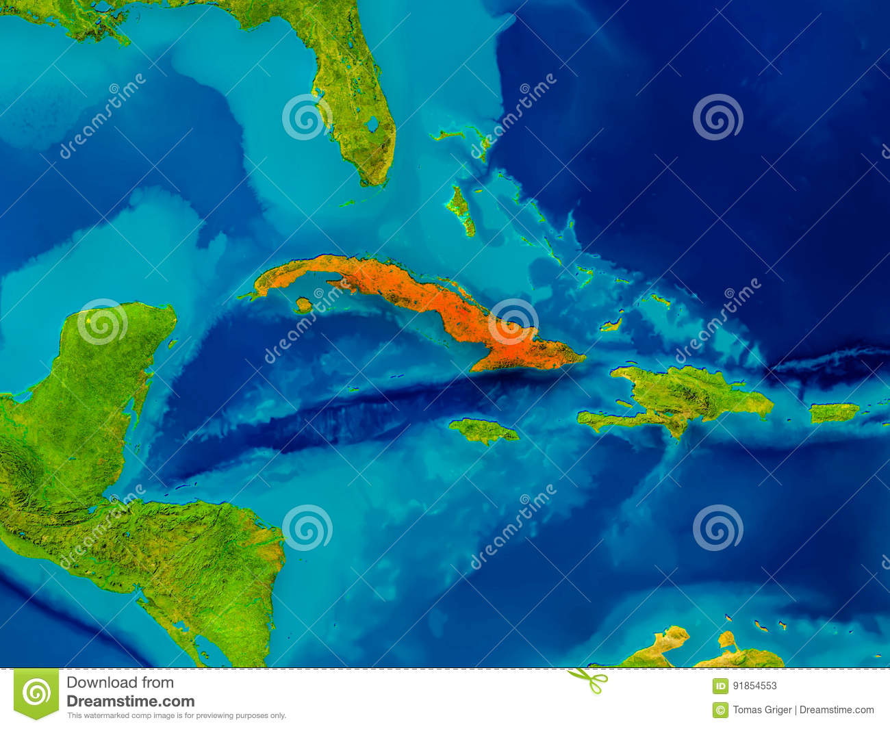 Cuba on physical map stock illustration illustration of render cuba on physical map gumiabroncs Image collections