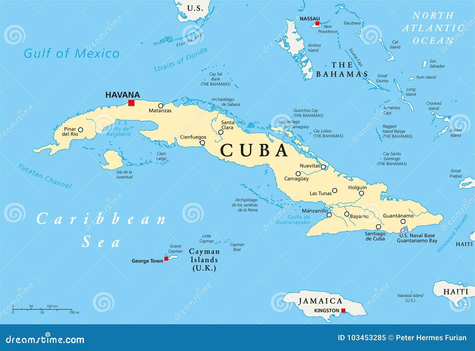 Cuba Political Map Stock Vector Illustration Of Santiago 103453285